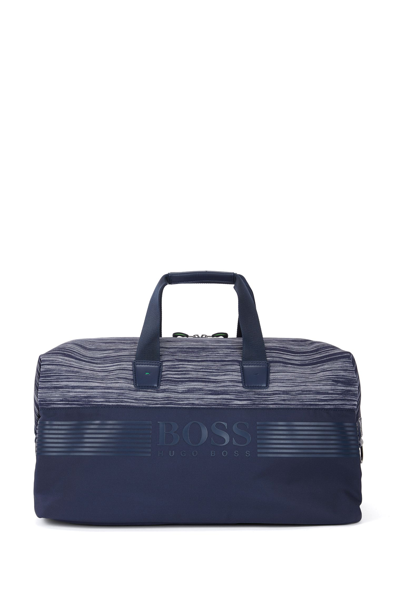 Nylon holdall with knitted melange panel
