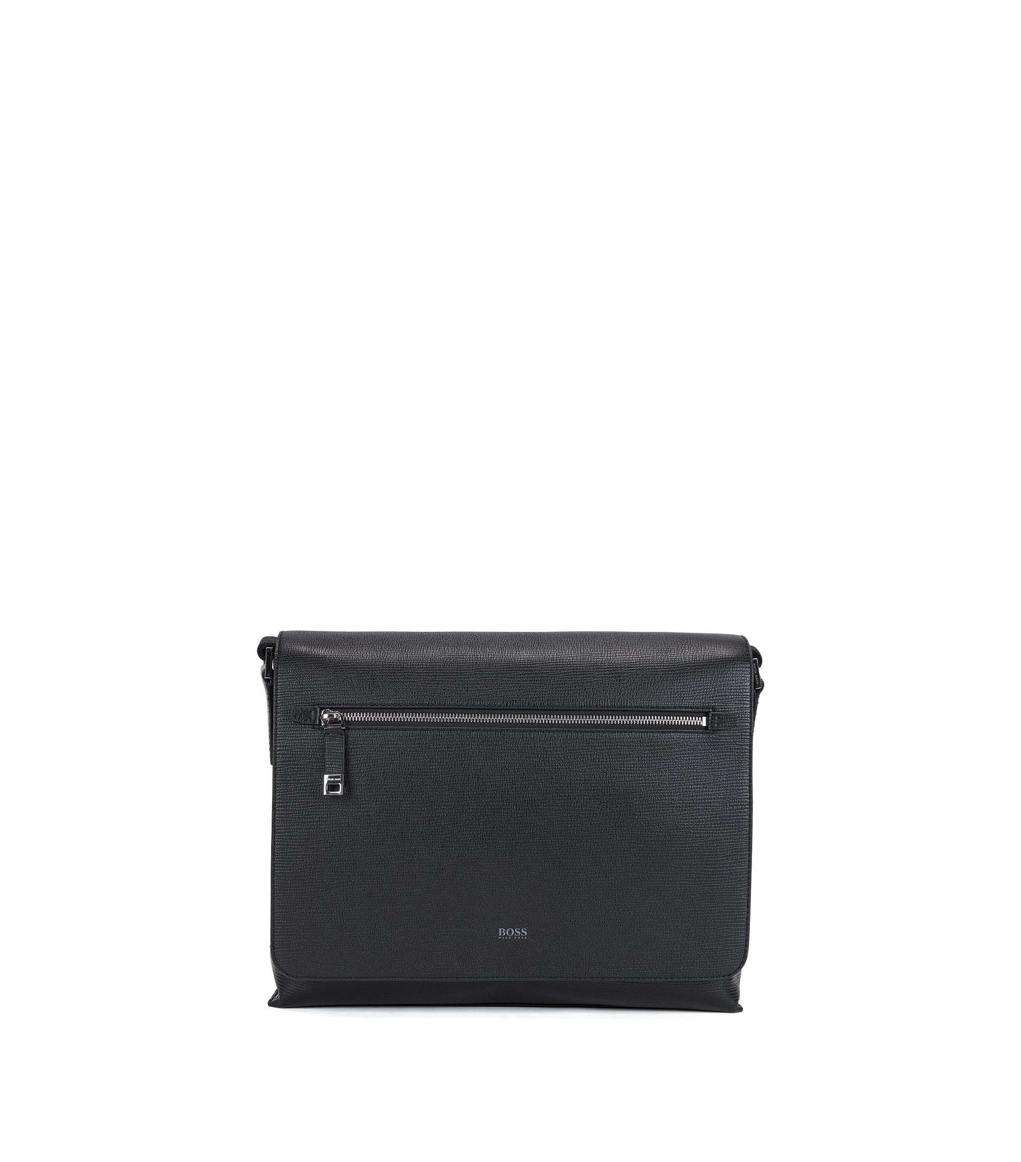 Messenger bag in printed Italian calf leather, Nero