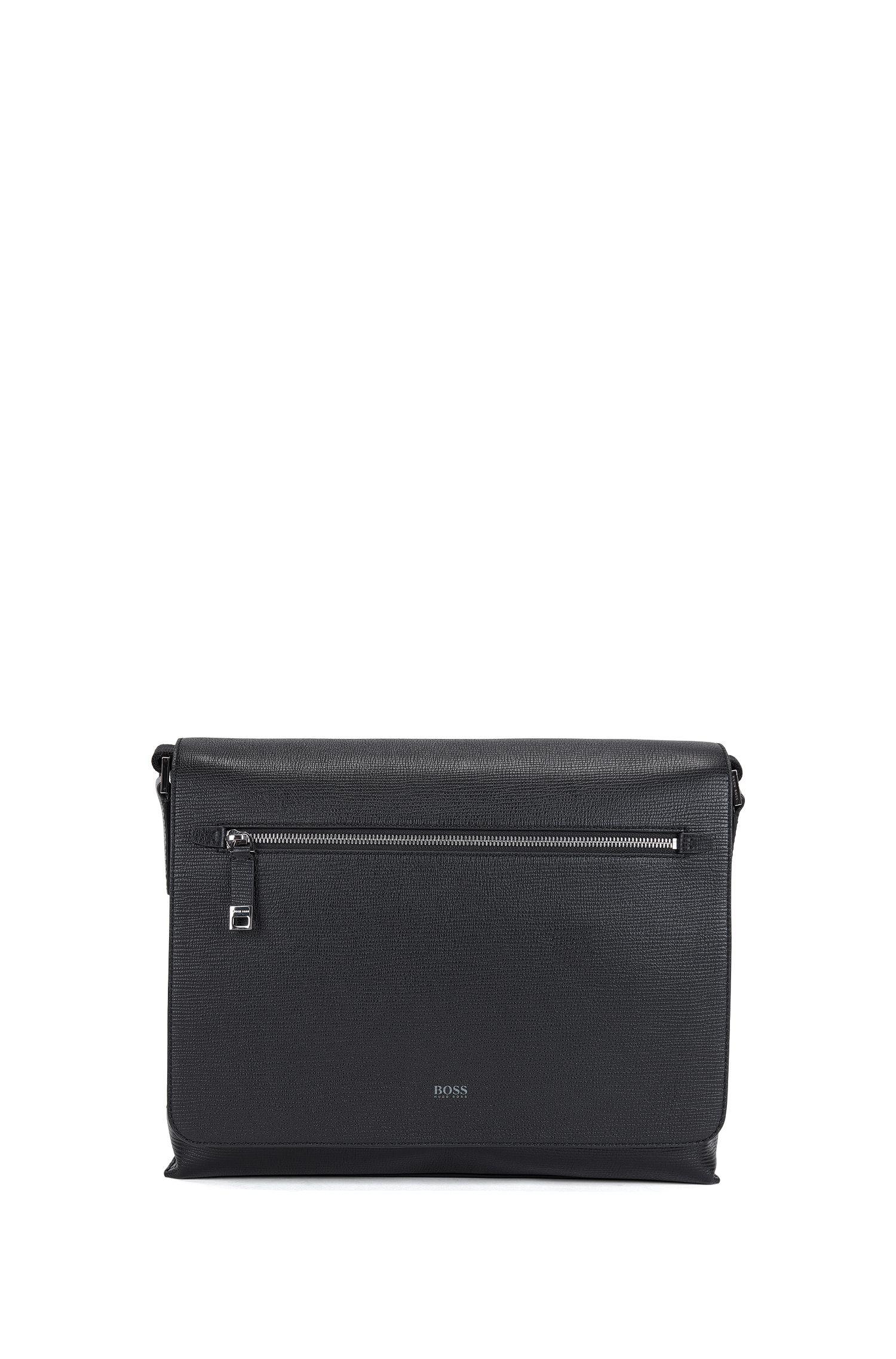 Messenger bag in printed Italian calf leather