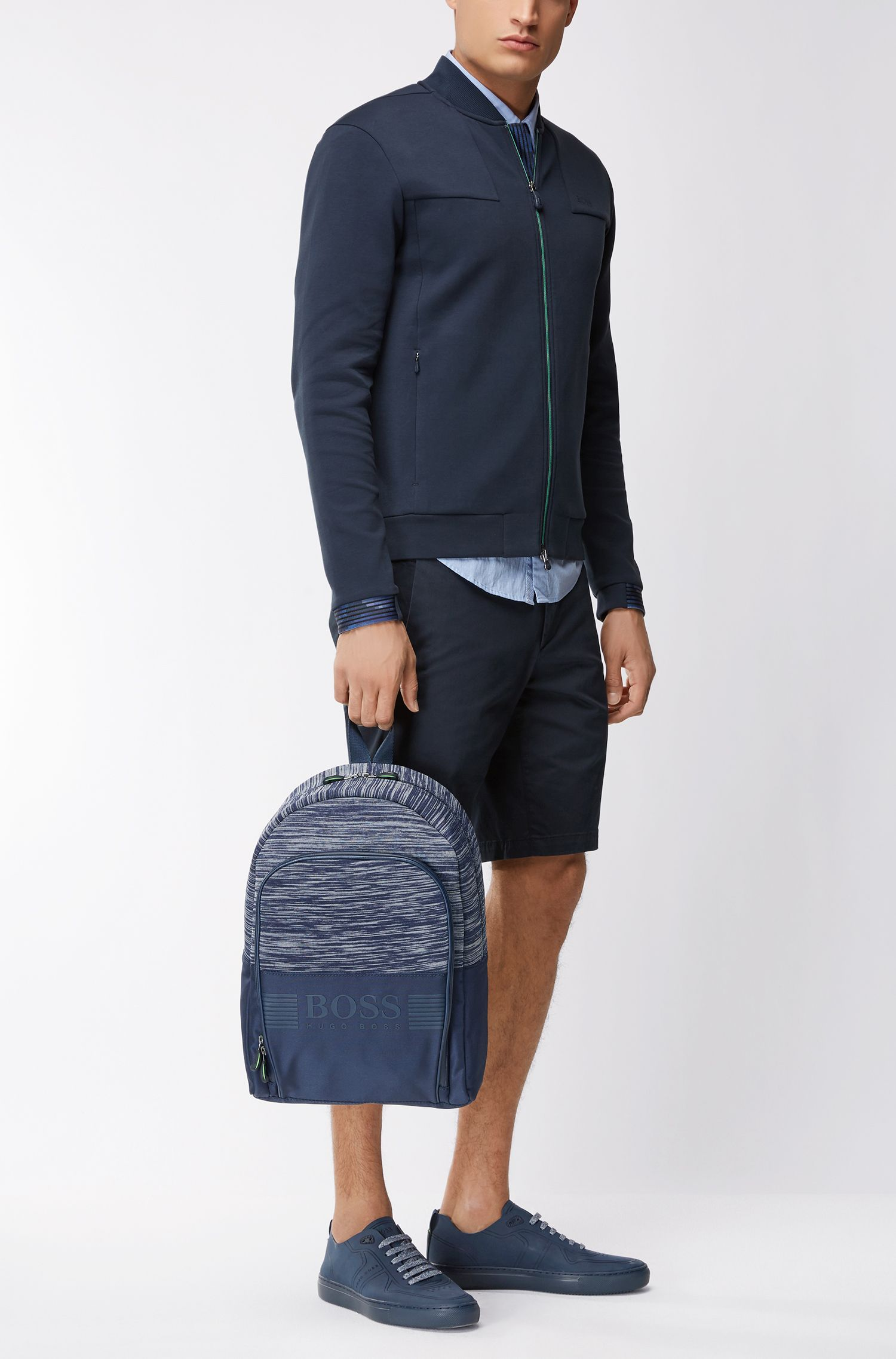 Nylon backpack with knitted mélange panel