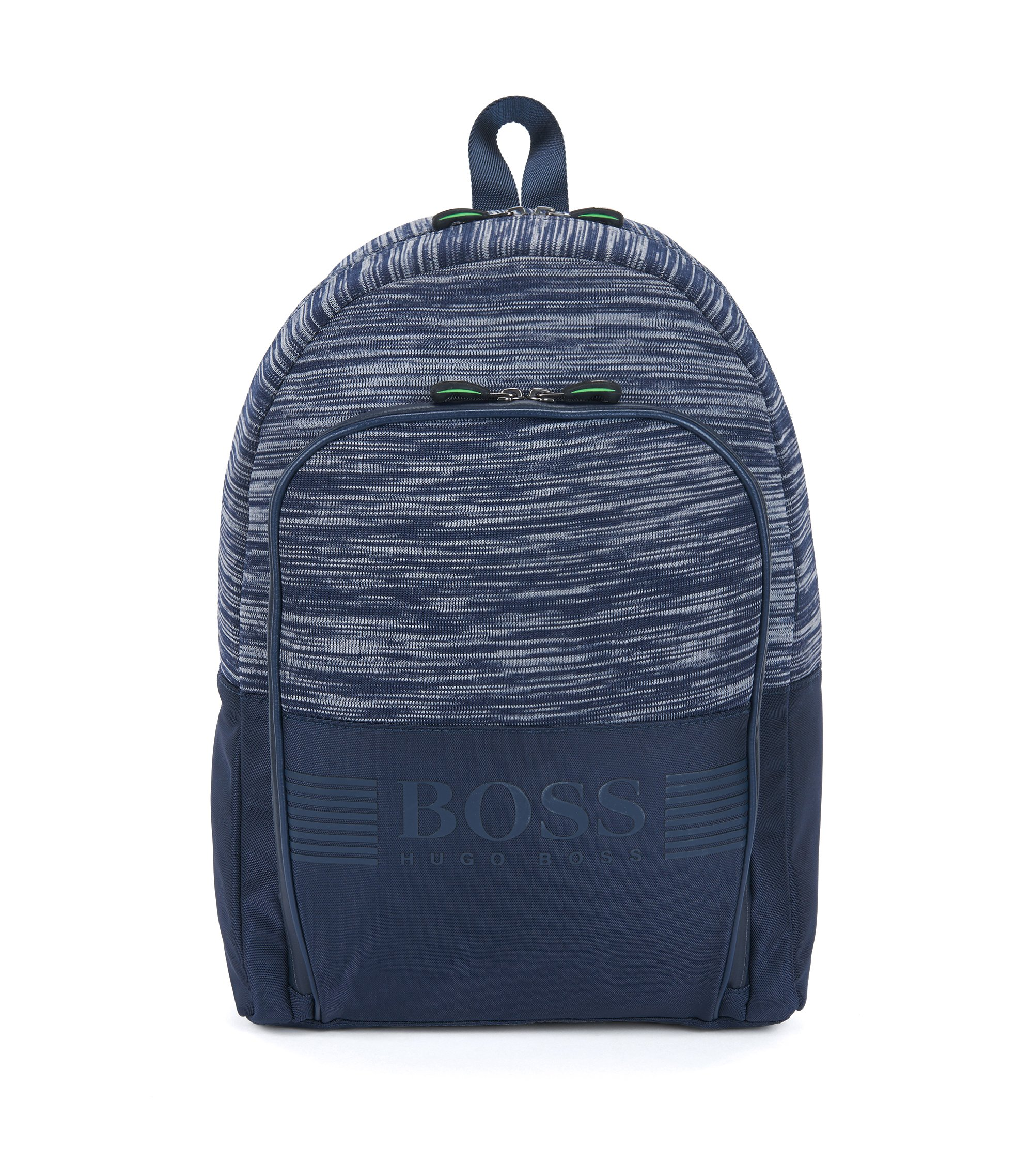 Nylon backpack with knitted mélange panel, Dark Blue
