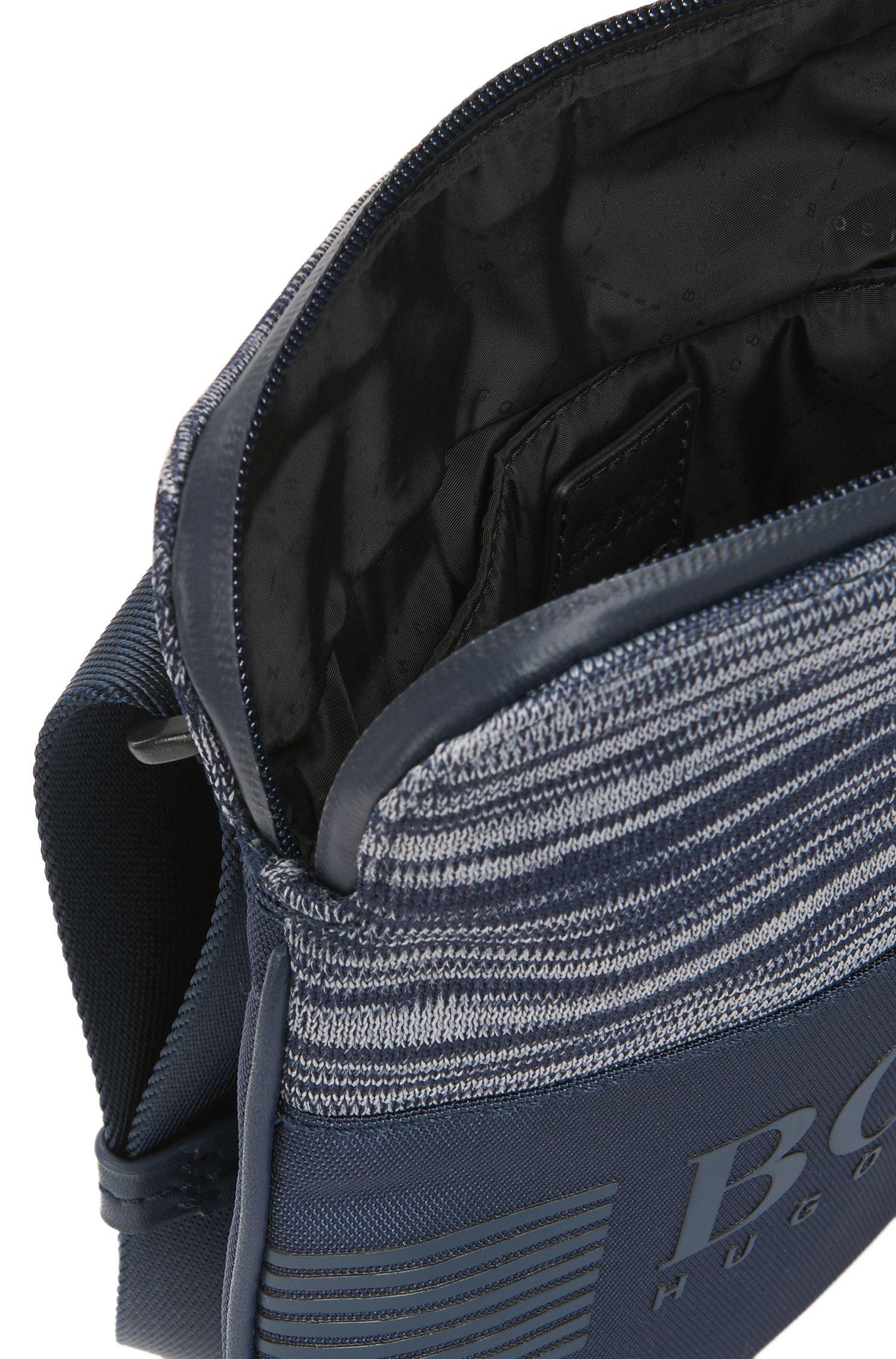 Nylon envelope bag with knitted melange panel