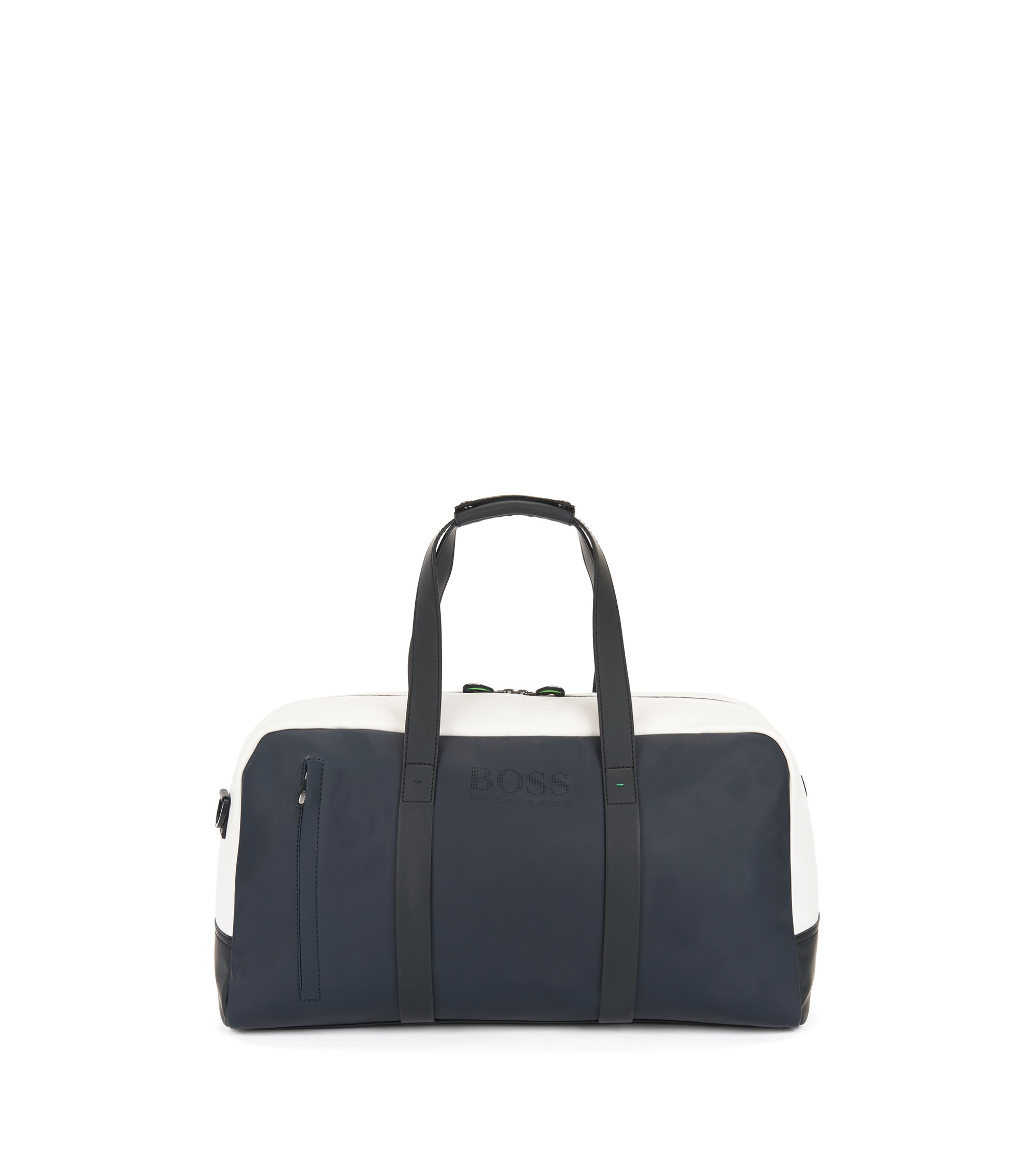 Colour-block holdall in rubberised fabric, Dark Blue