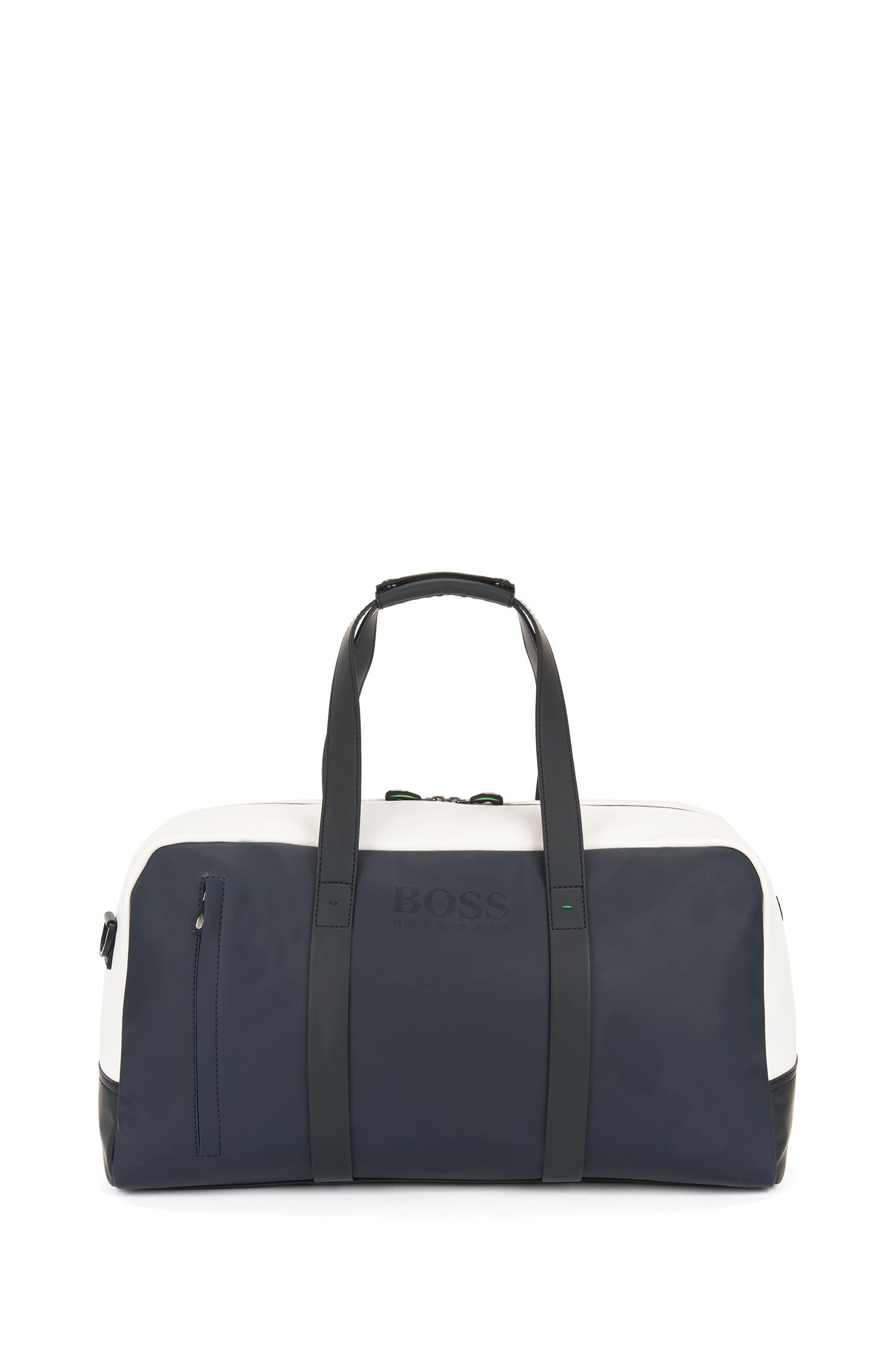 Colour-block holdall in rubberised fabric