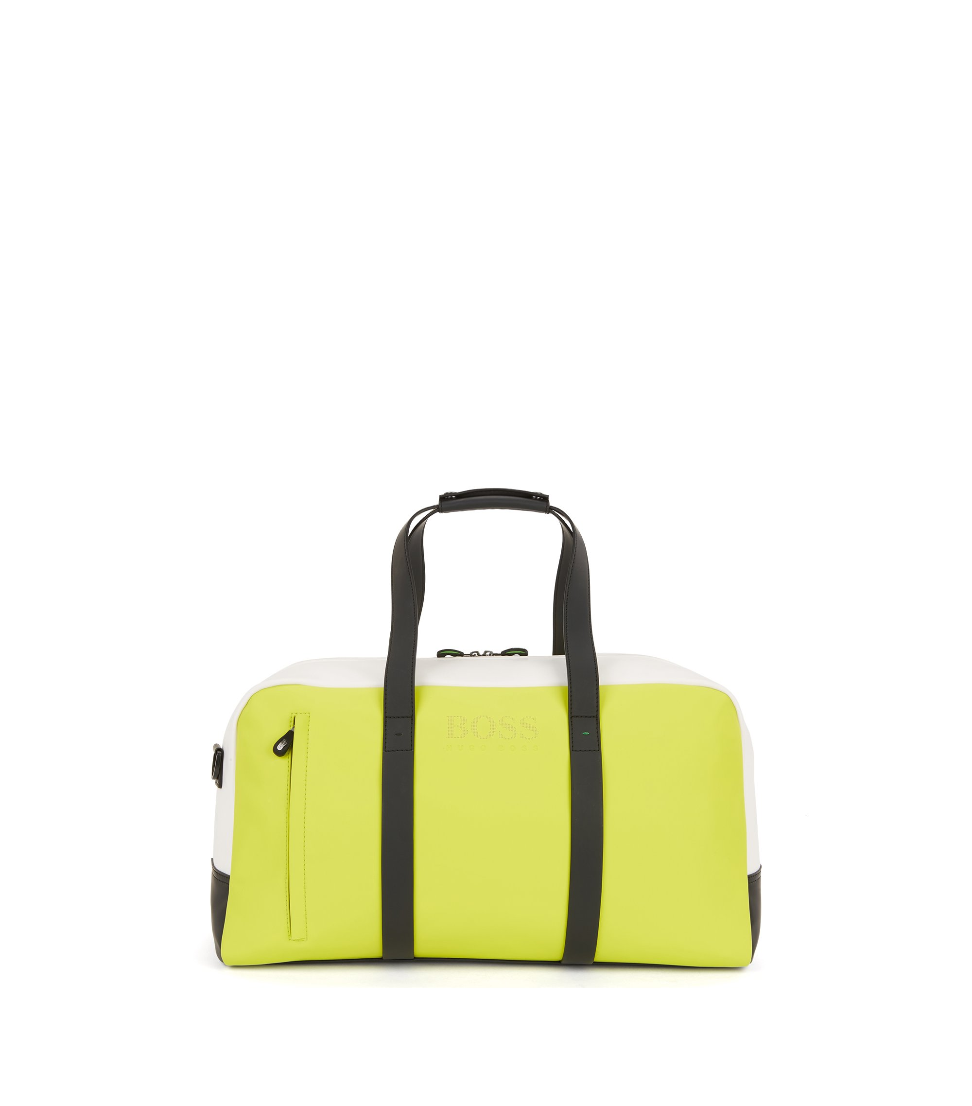 Colour-block holdall in rubberised fabric, Yellow