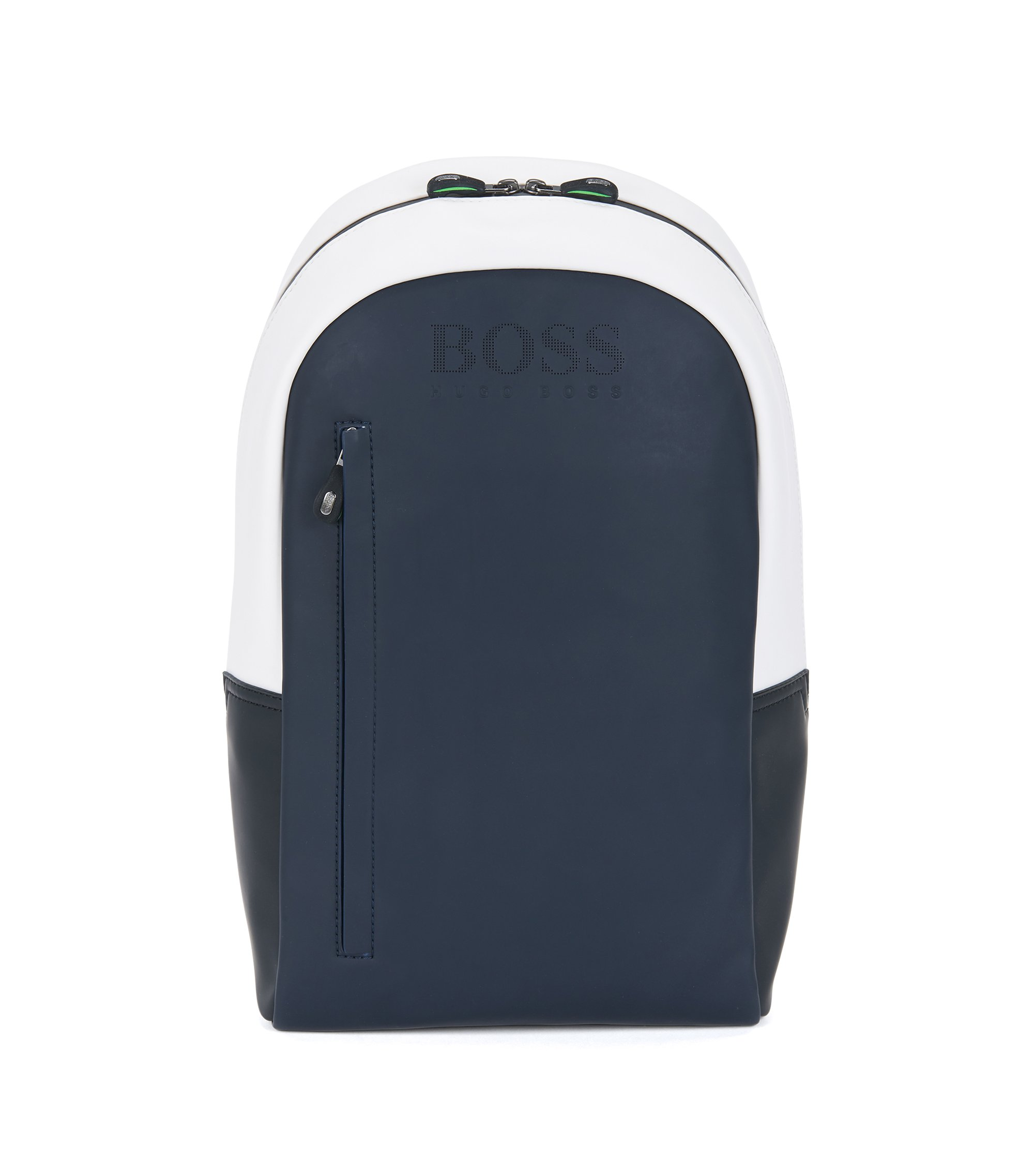 Colourblock backpack in rubberised fabric, Dark Blue