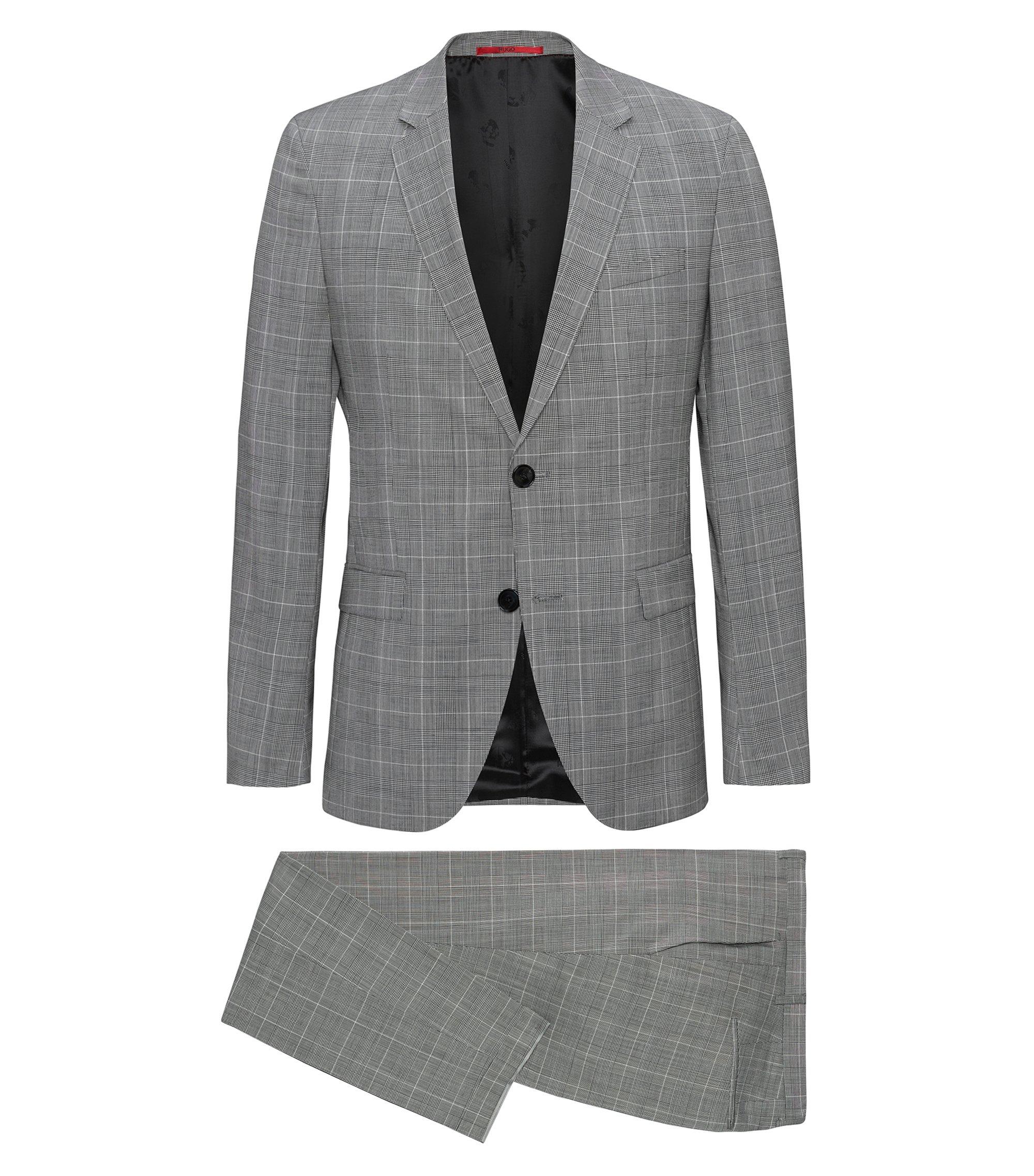 Extra Slim-Fit Anzug aus Schurwolle mit Glencheck-Muster, Hellbeige