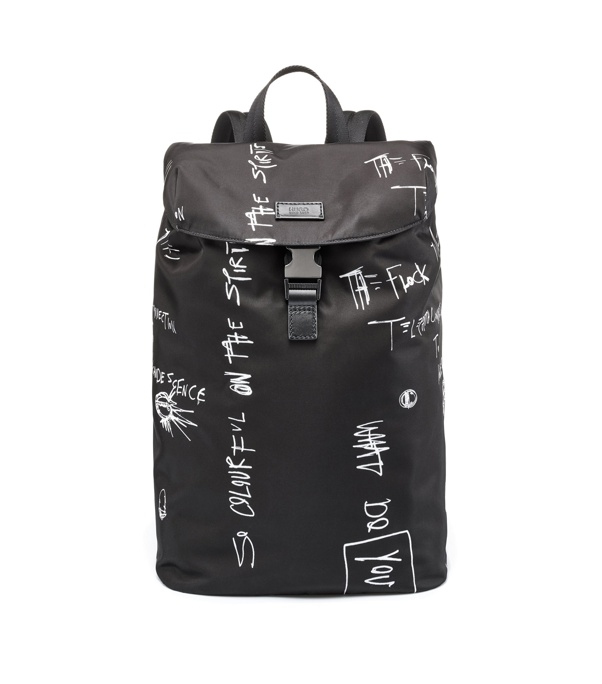 Graffiti-print backpack in nylon gabardine with laptop pocket, Black