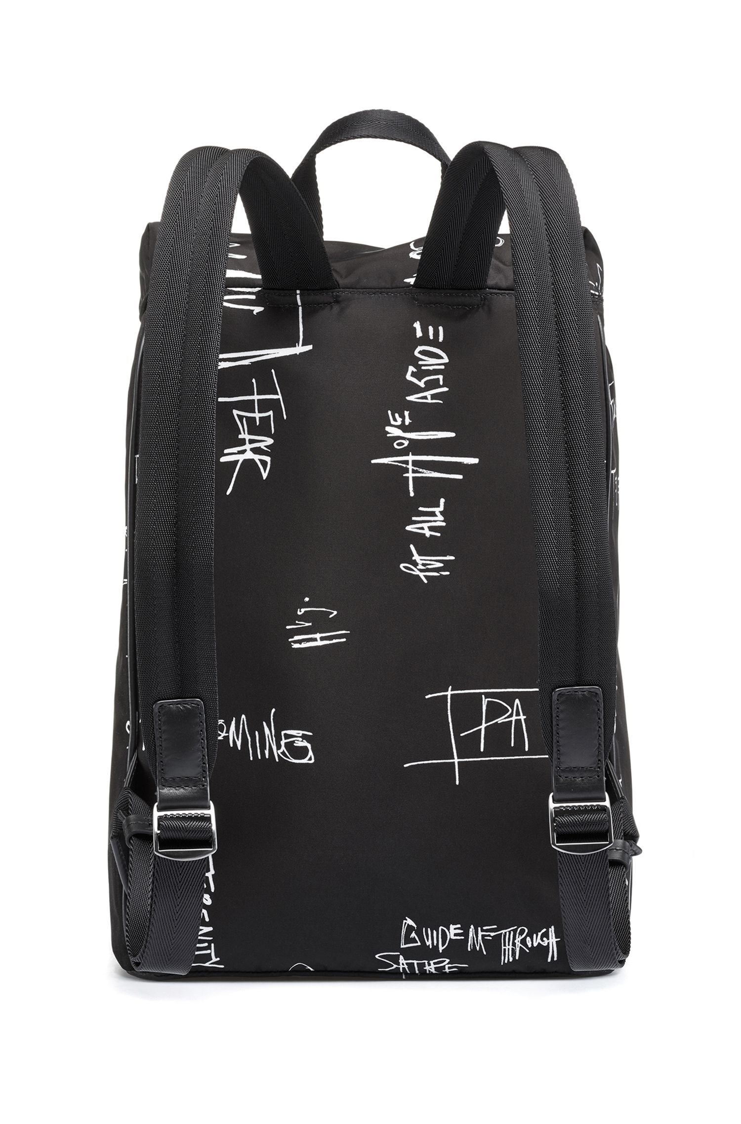 Graffiti-print backpack in nylon gabardine with laptop pocket