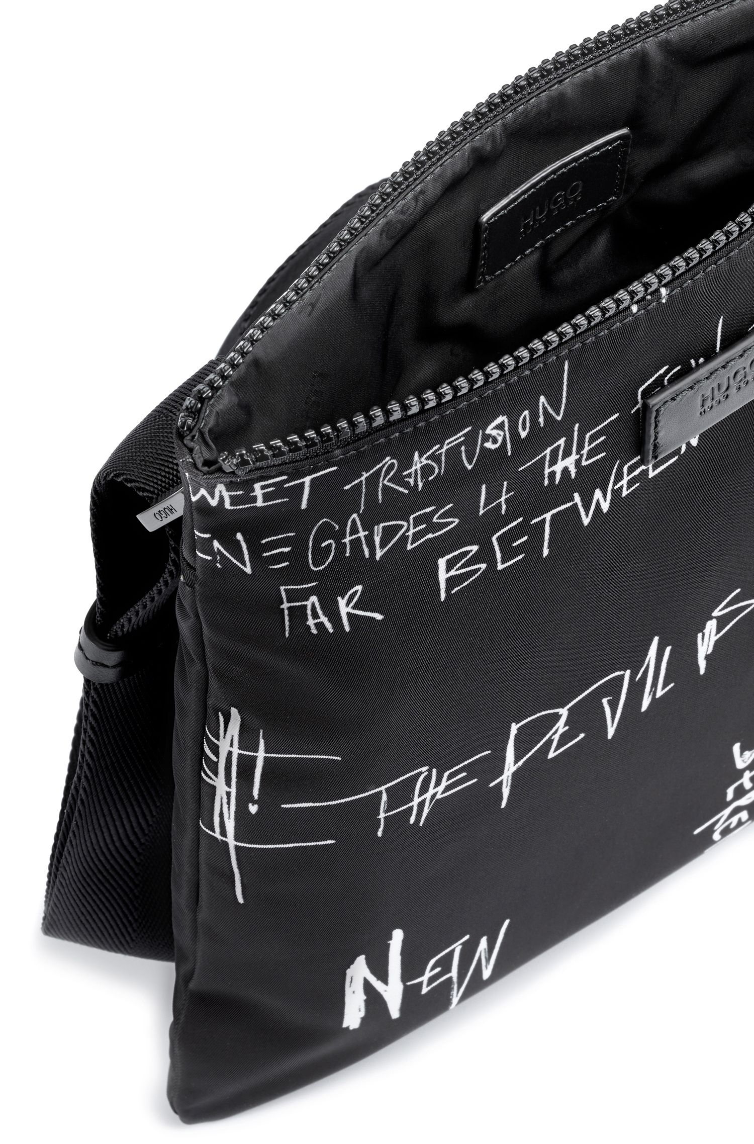 Graffiti-print envelope bag in nylon gabardine