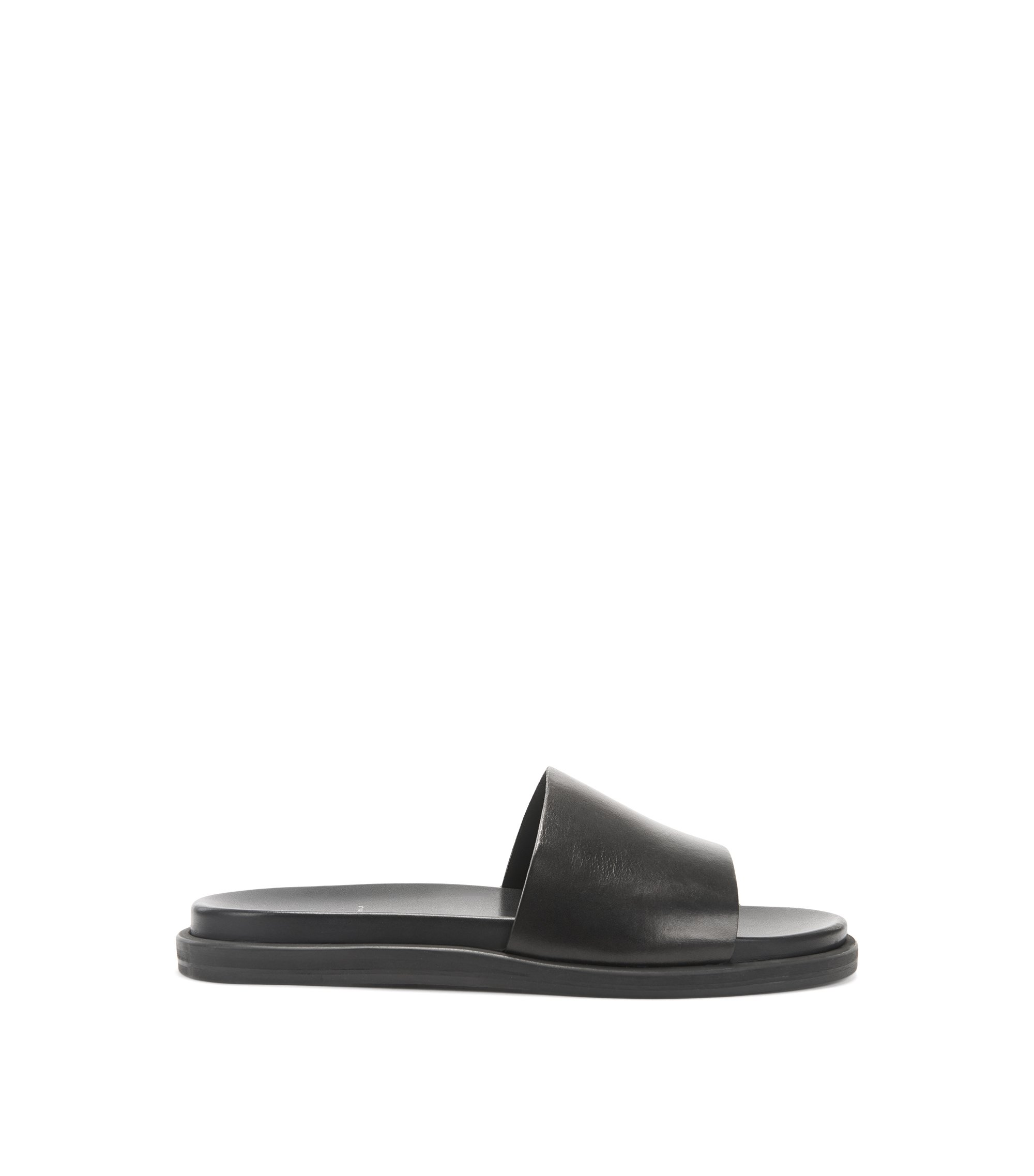 Italian-made calf-leather slider sandals with shaped footbed, Black