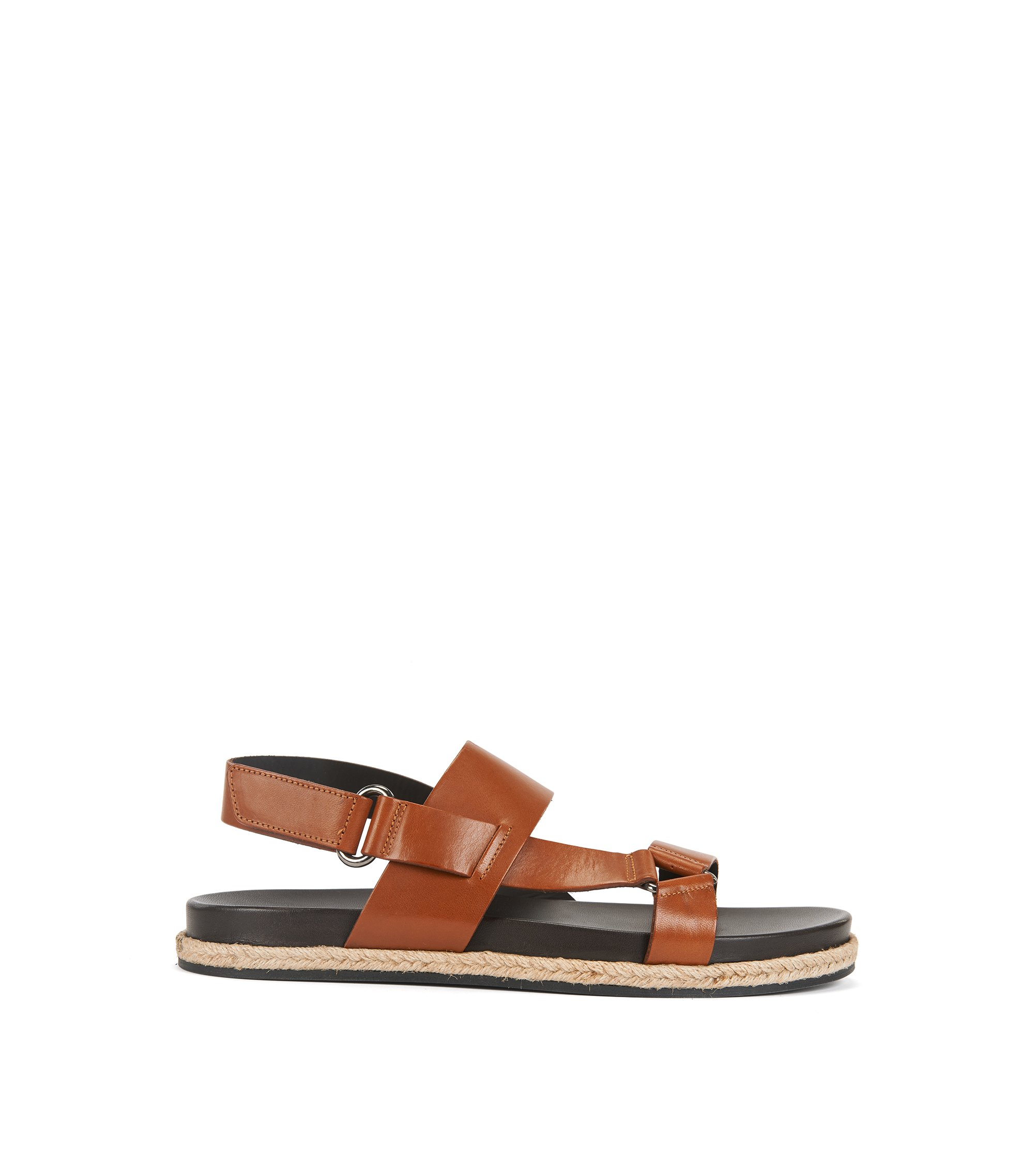 Calf-leather sandals with rope welt detail, Brown