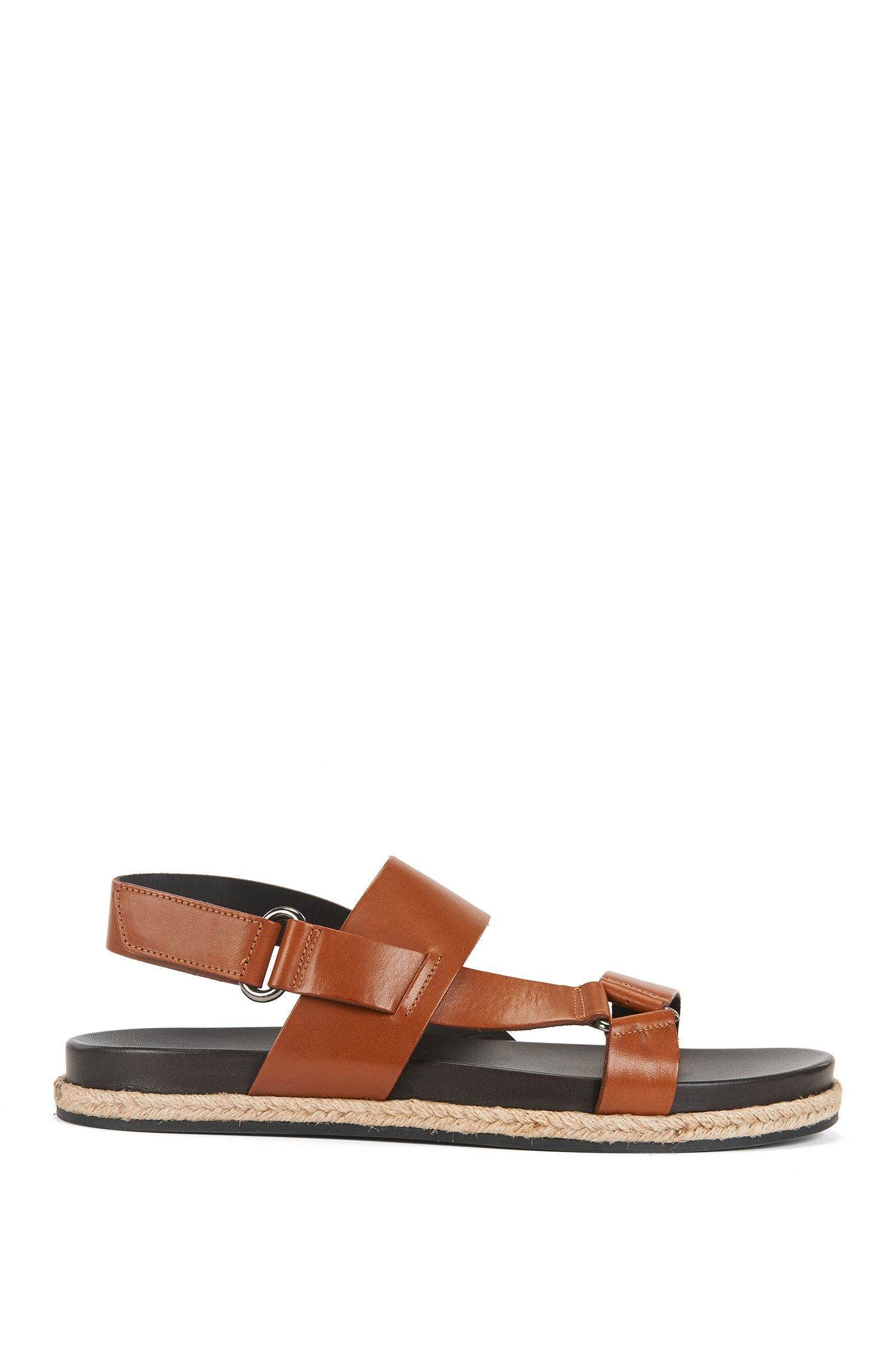 Calf-leather sandals with rope welt detail