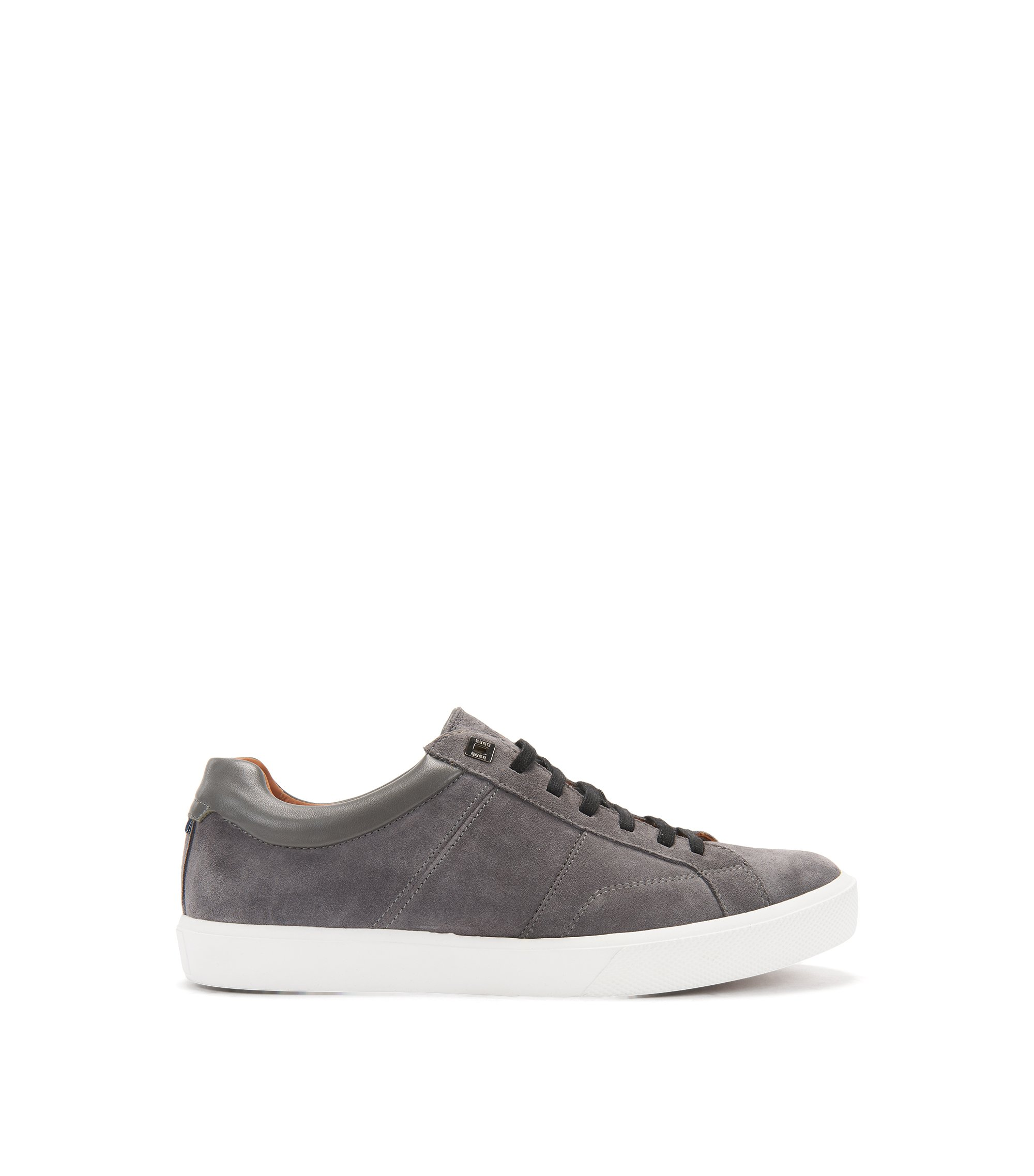 Tennis-inspired trainers with Italian calfskin-suede uppers, Dark Grey