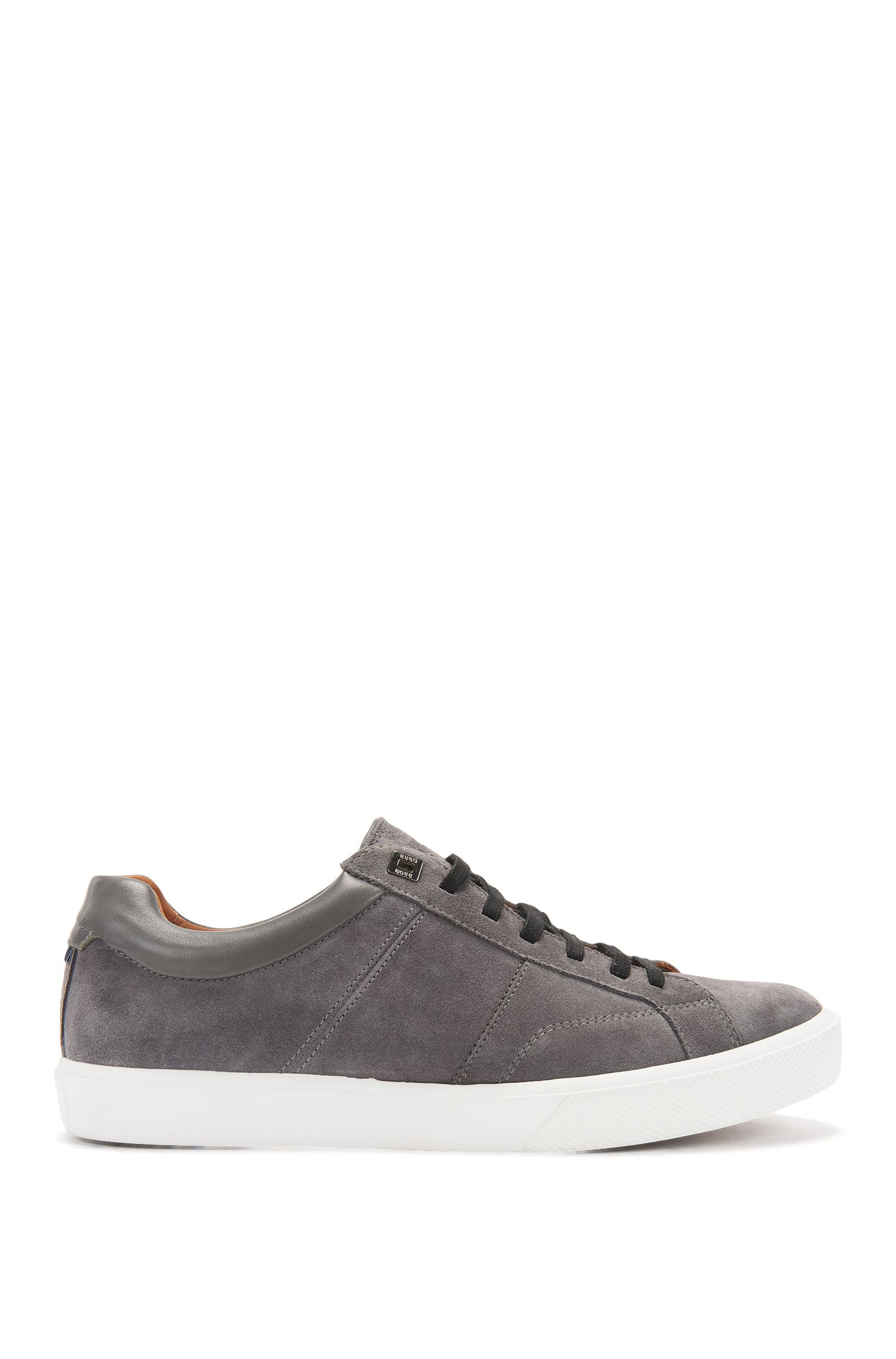 Tennis-inspired trainers with Italian calfskin-suede uppers