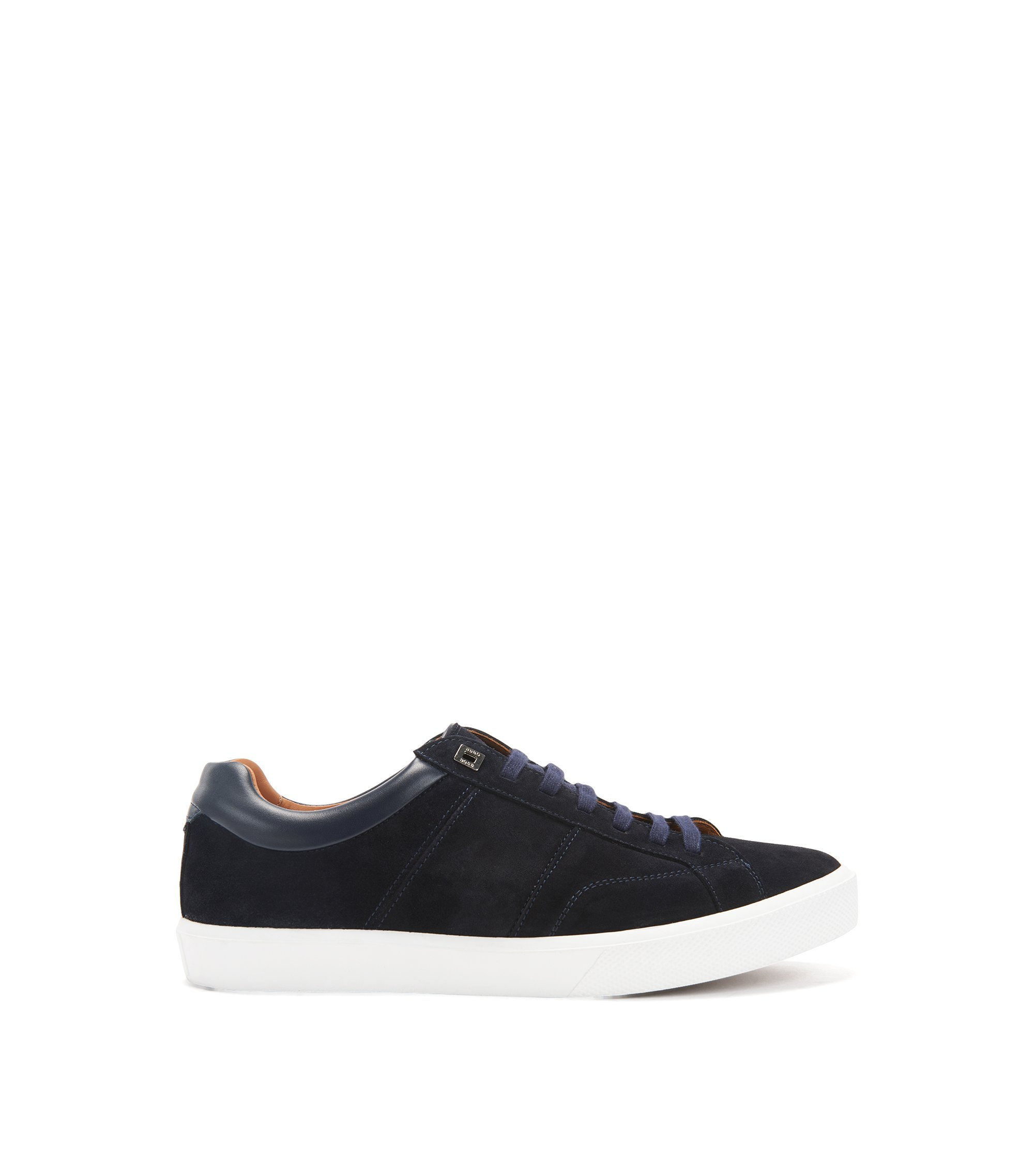 Tennis-inspired trainers with Italian calfskin-suede uppers, Dark Blue