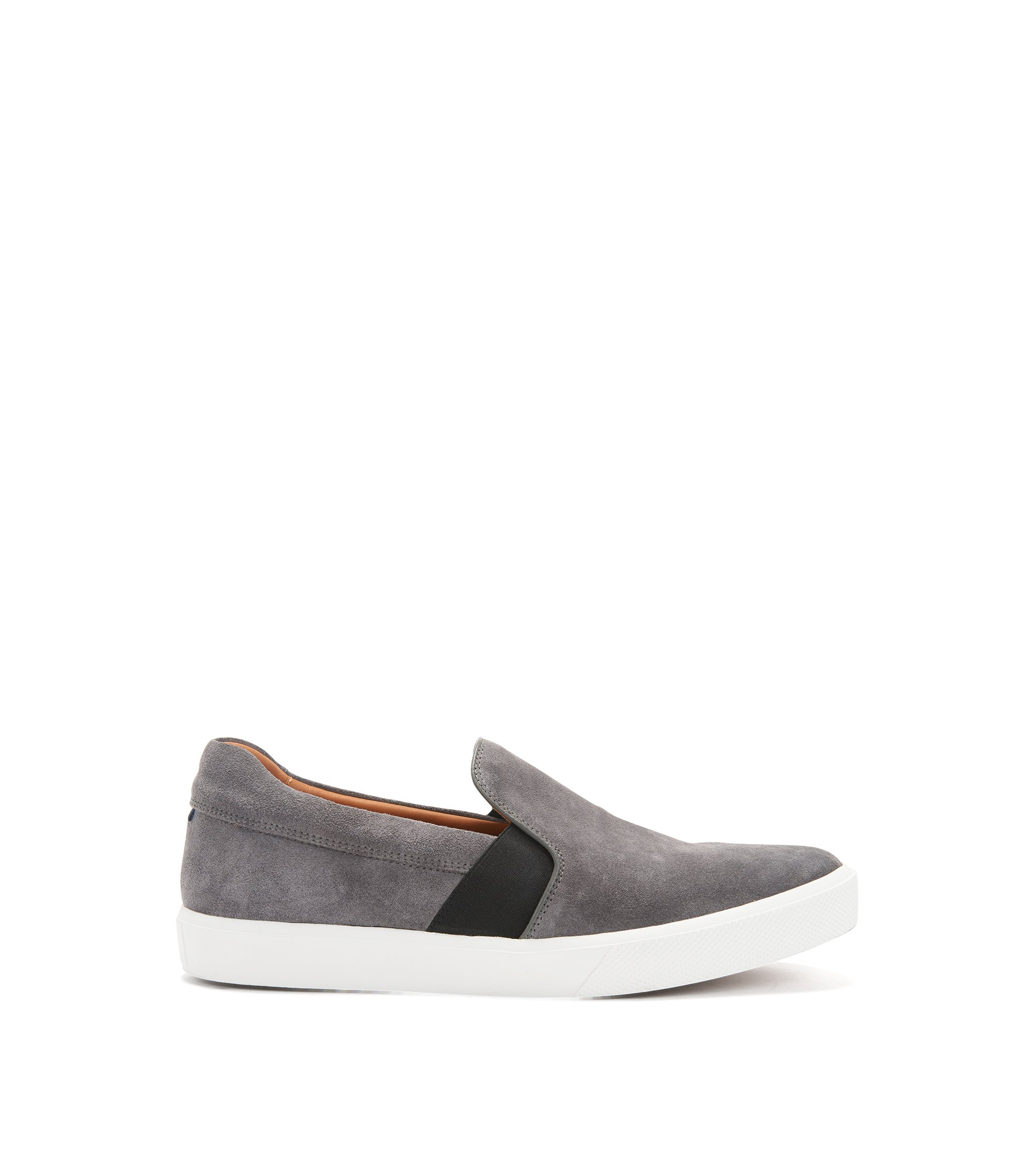Slip-on trainers in Italian suede , Dark Grey