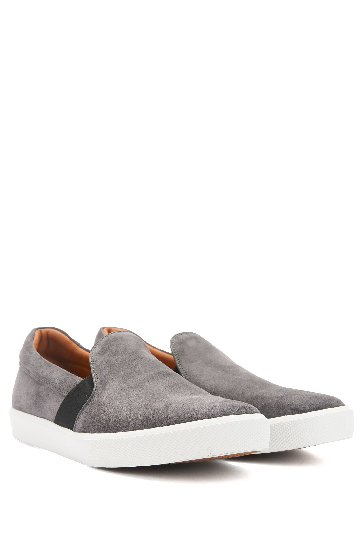 Slip-on trainers in Italian suede