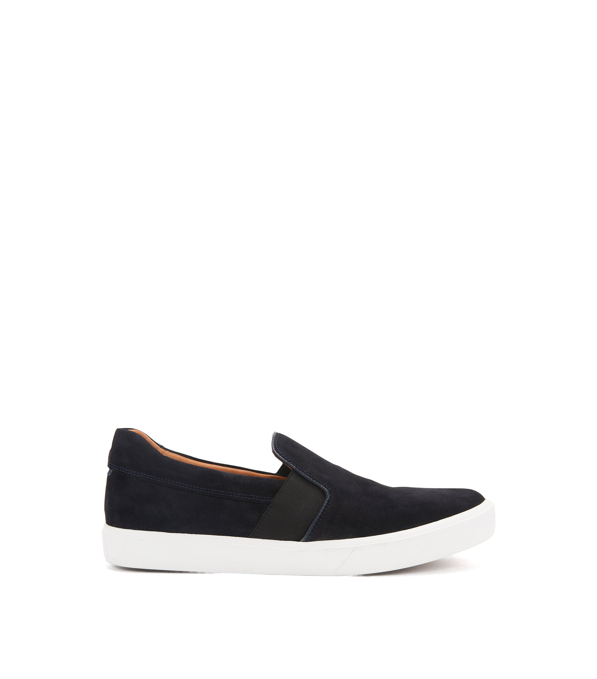 Slip-on trainers in Italian suede , Dark Blue