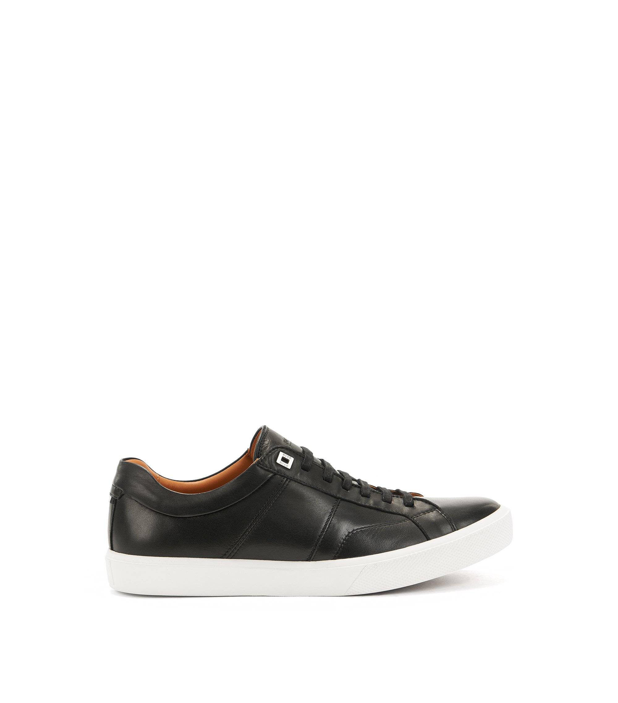 Tennis-style trainers in Italian calf leather, Black