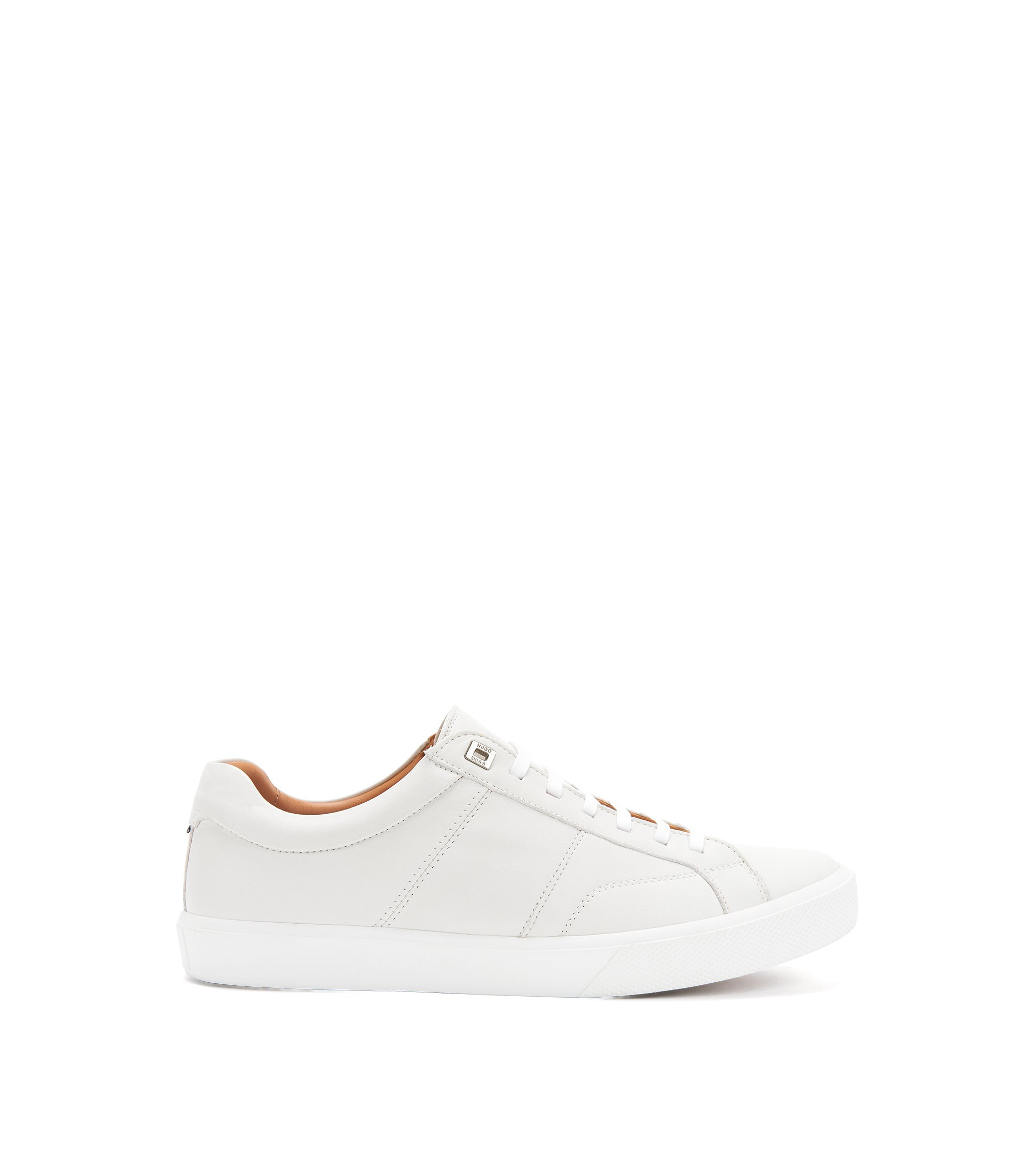 Tennis-style trainers in Italian calf leather, White