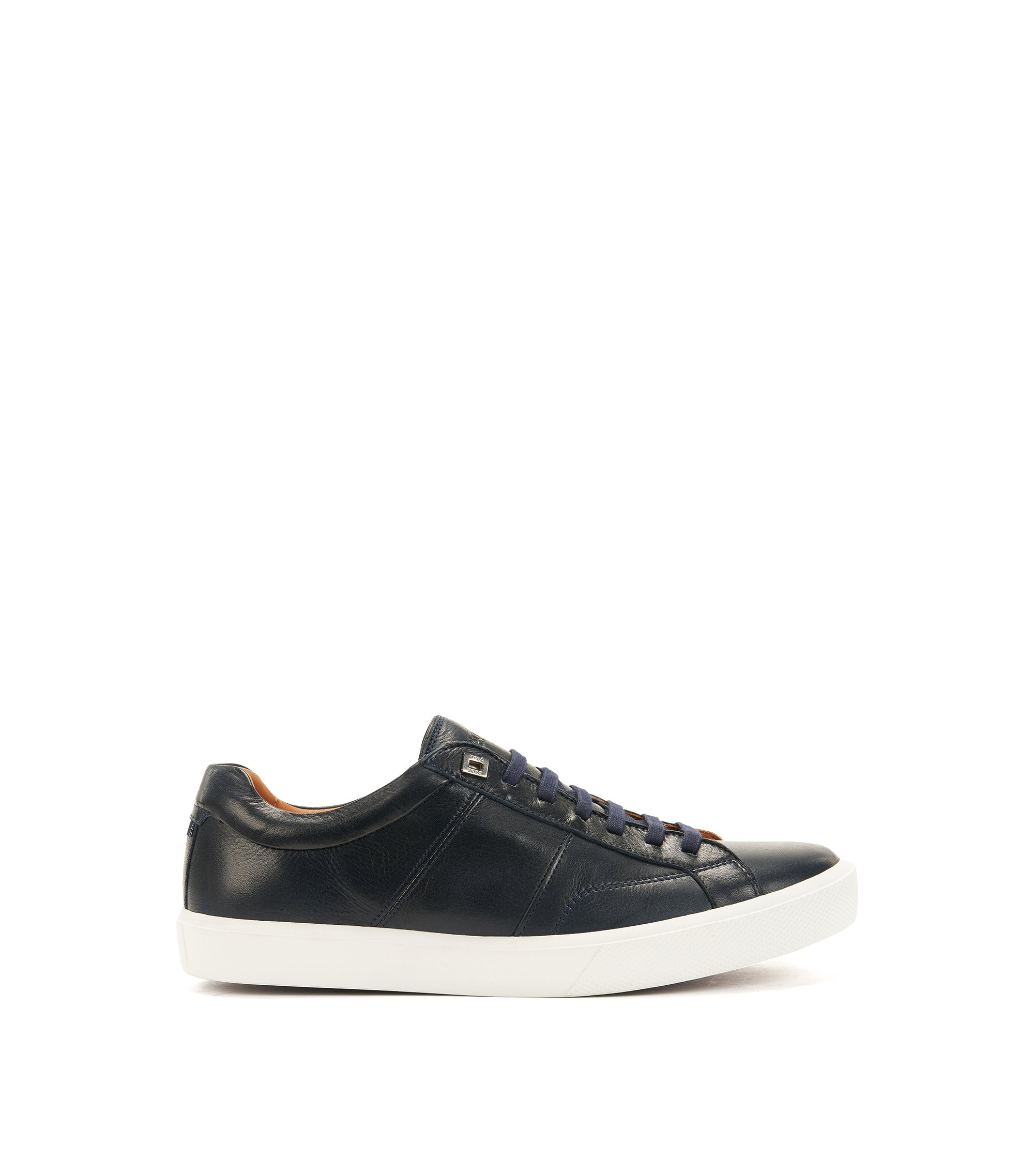 Tennis-style trainers in Italian calf leather, Dark Blue