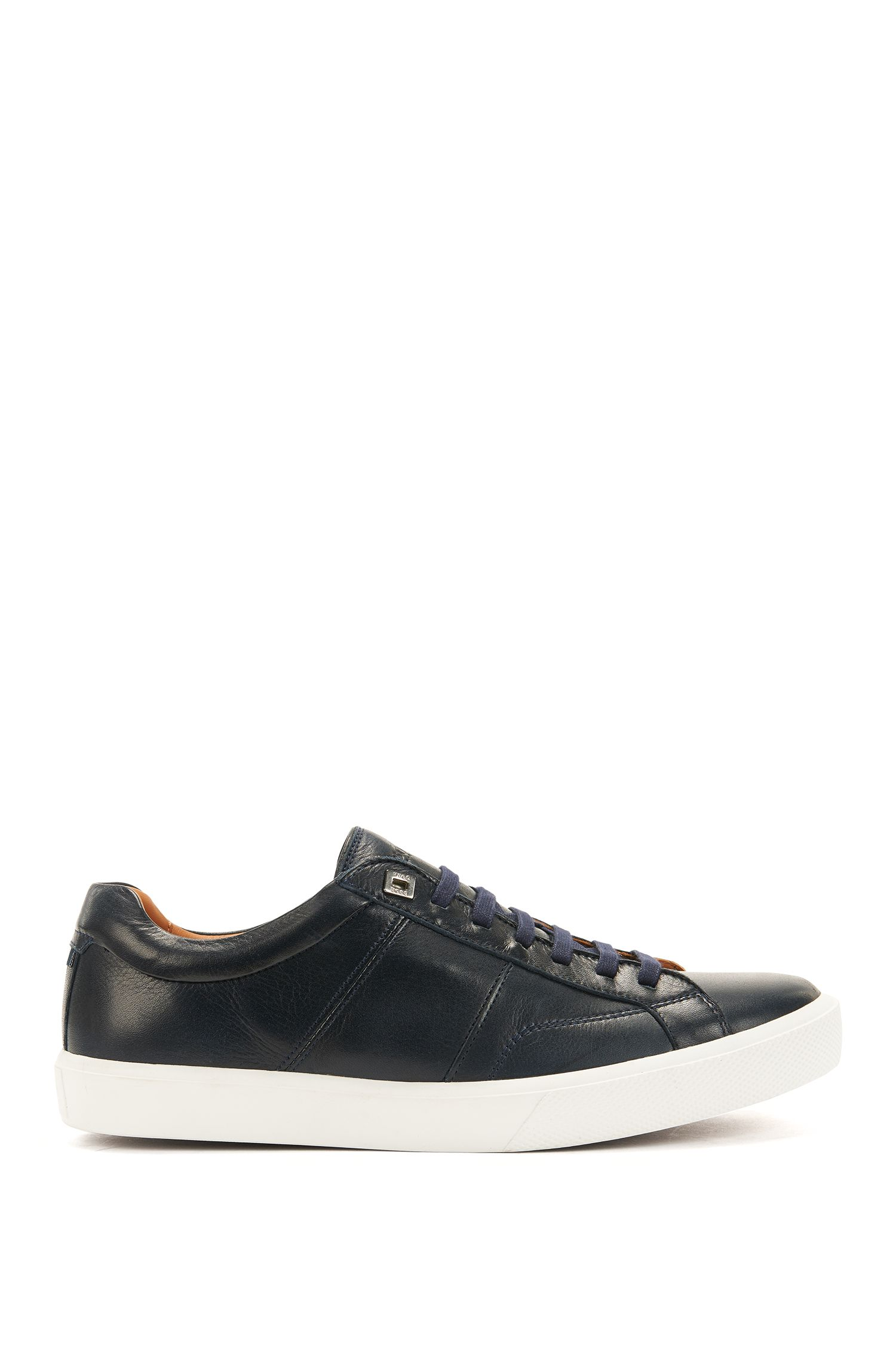 Tennis-style trainers in Italian calf leather