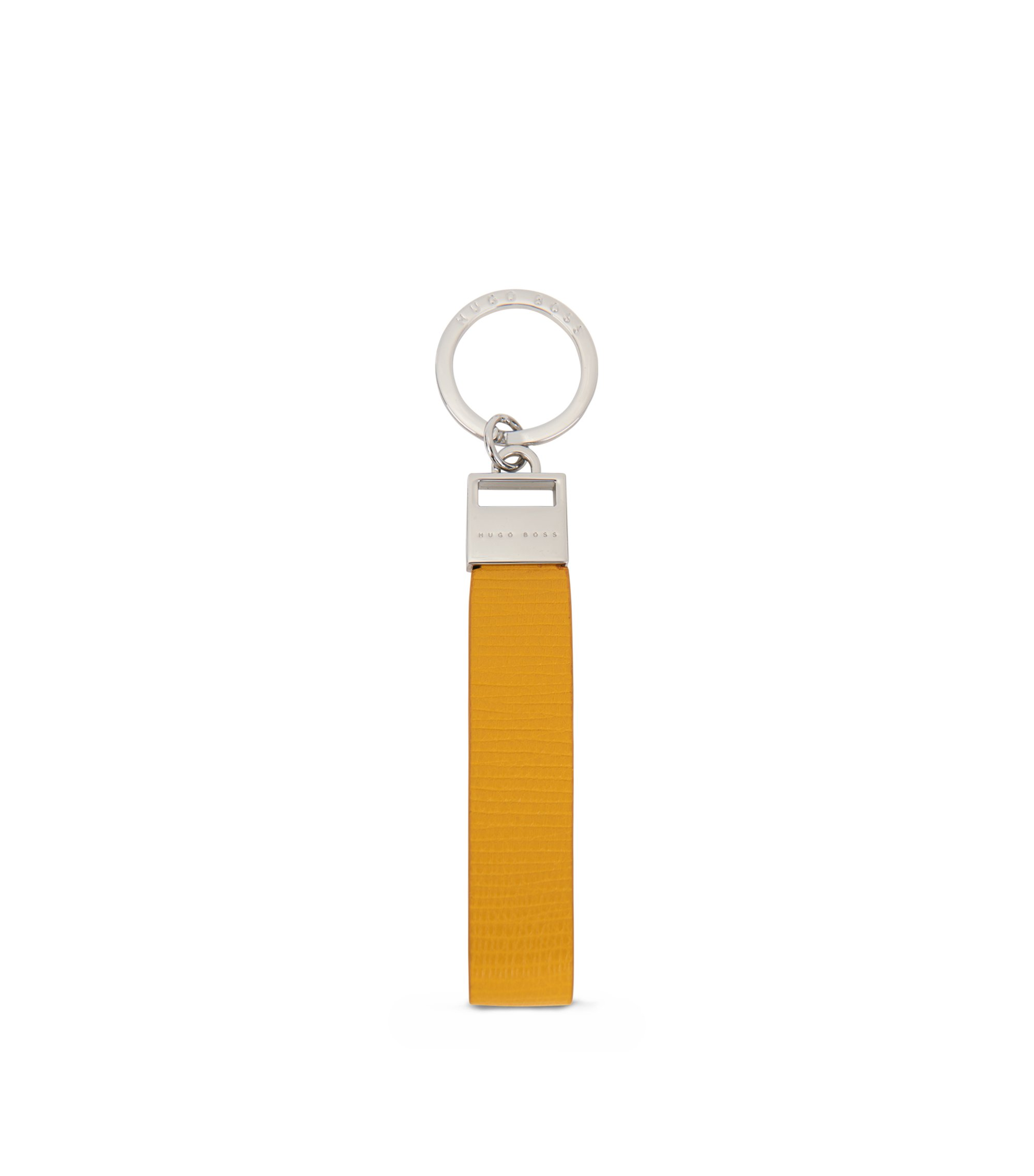 Key ring in printed calf leather, Yellow