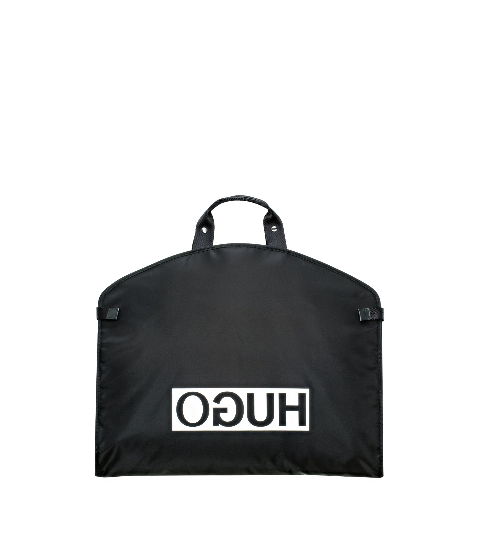 Reverse-logo garment bag in nylon gabardine, Black