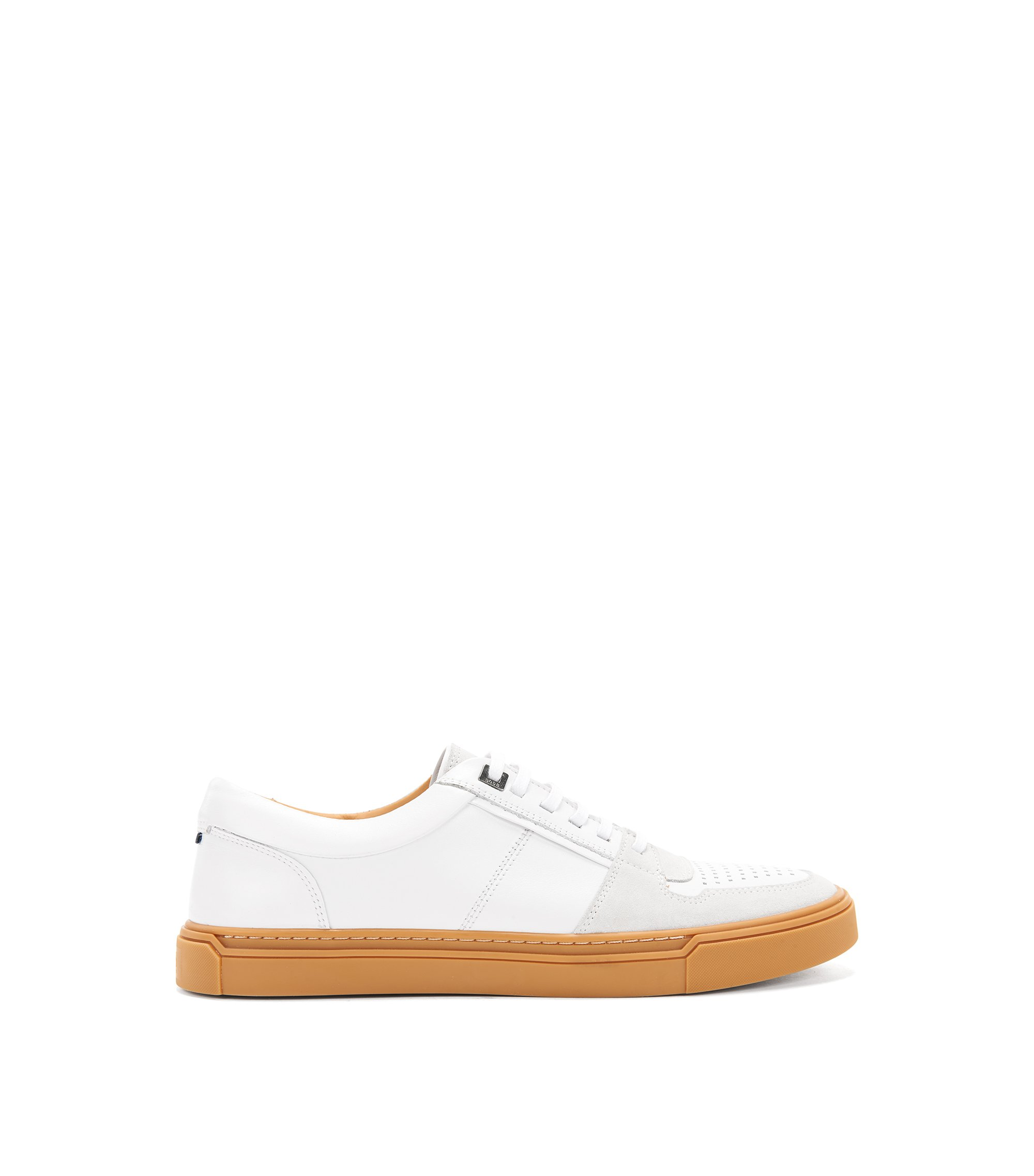 Italian calf-leather trainers with Strobel construction, White