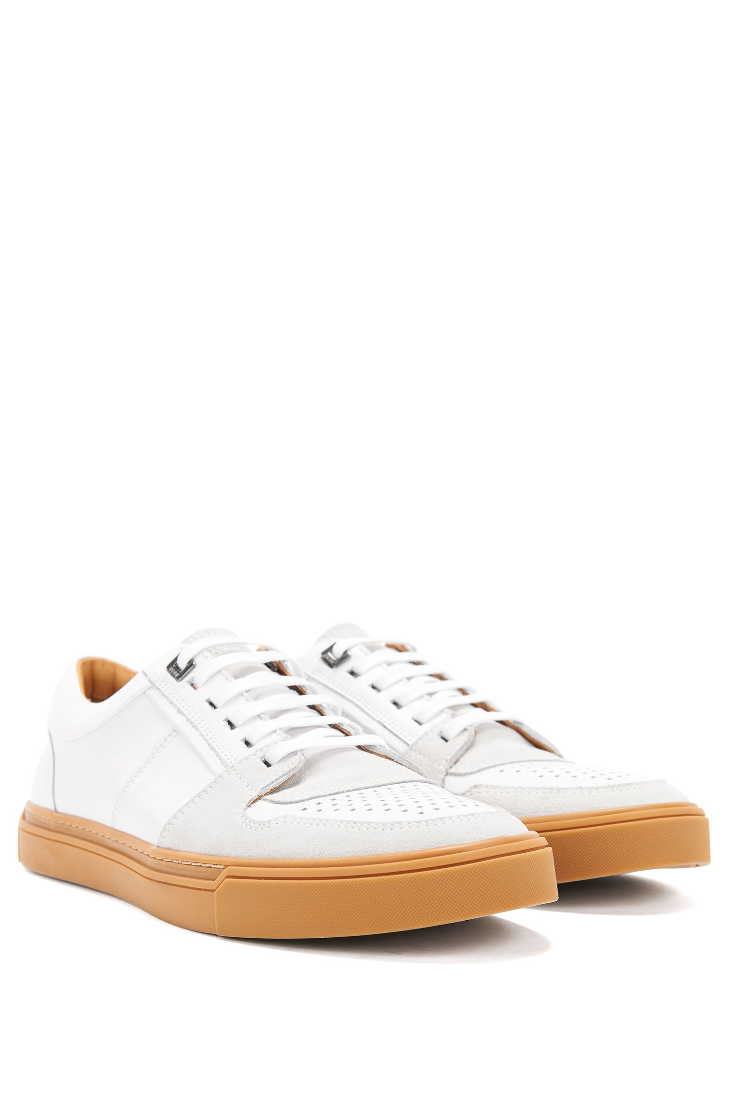 Italian calf-leather trainers with Strobel construction BOSS