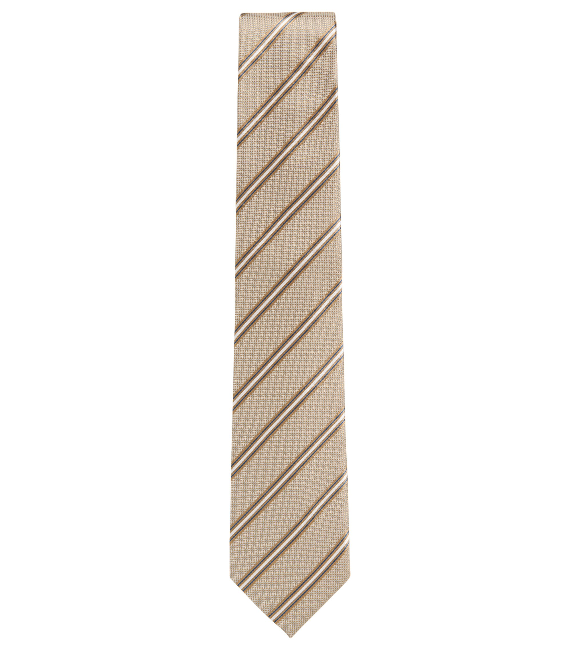 Italian-made silk-jacquard tie with diagonal stripe, Natural