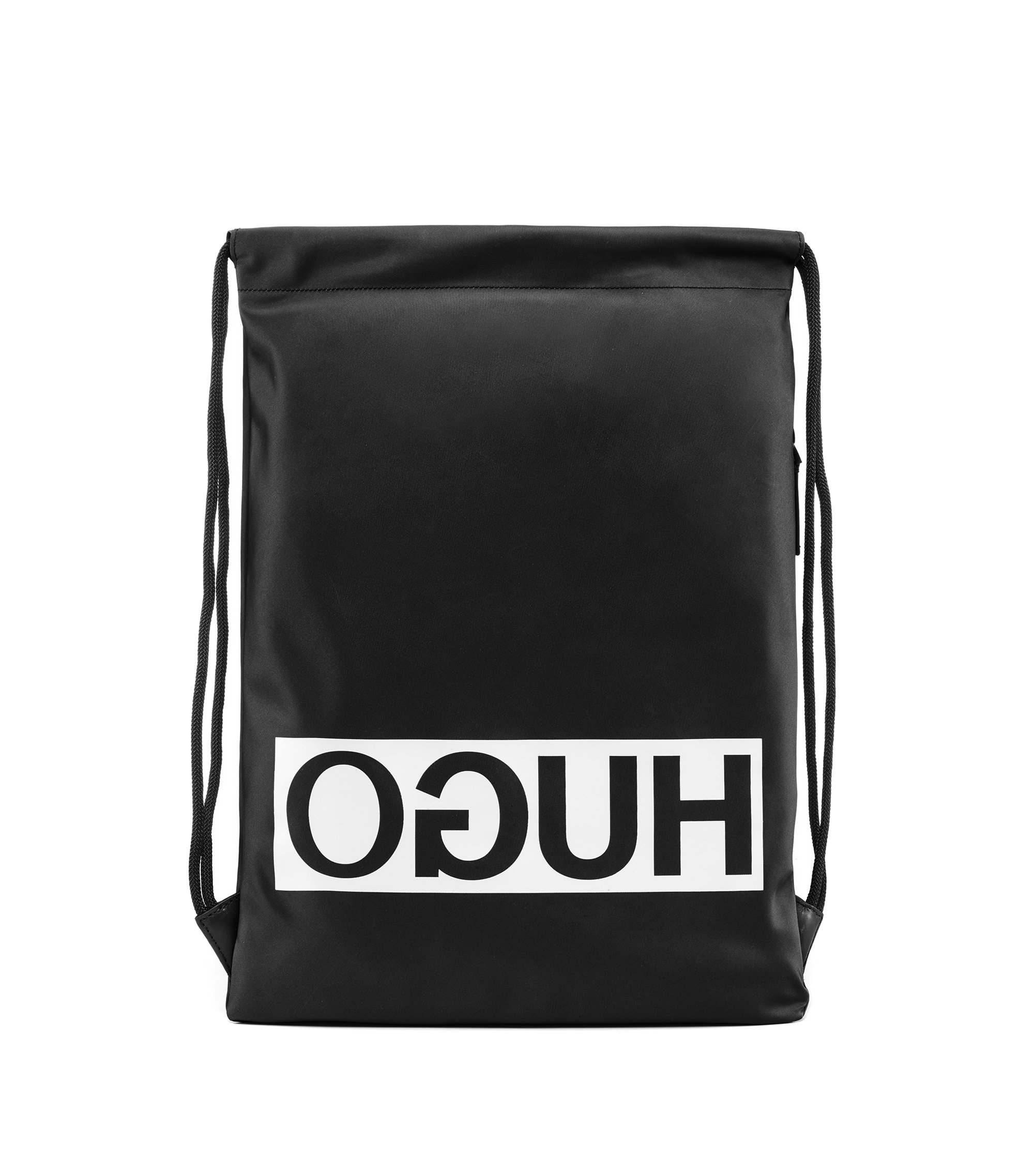 Reverse logo drawstring backpack in nylon gabardine, Black