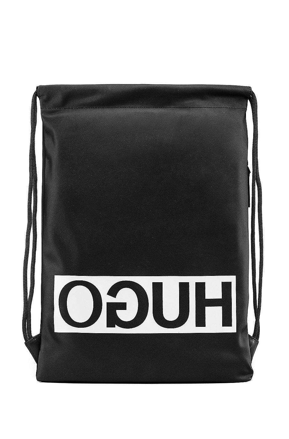 HUGO BOSS Sac à dos à logo inversé en gabardine technique, avec finitions en cuir