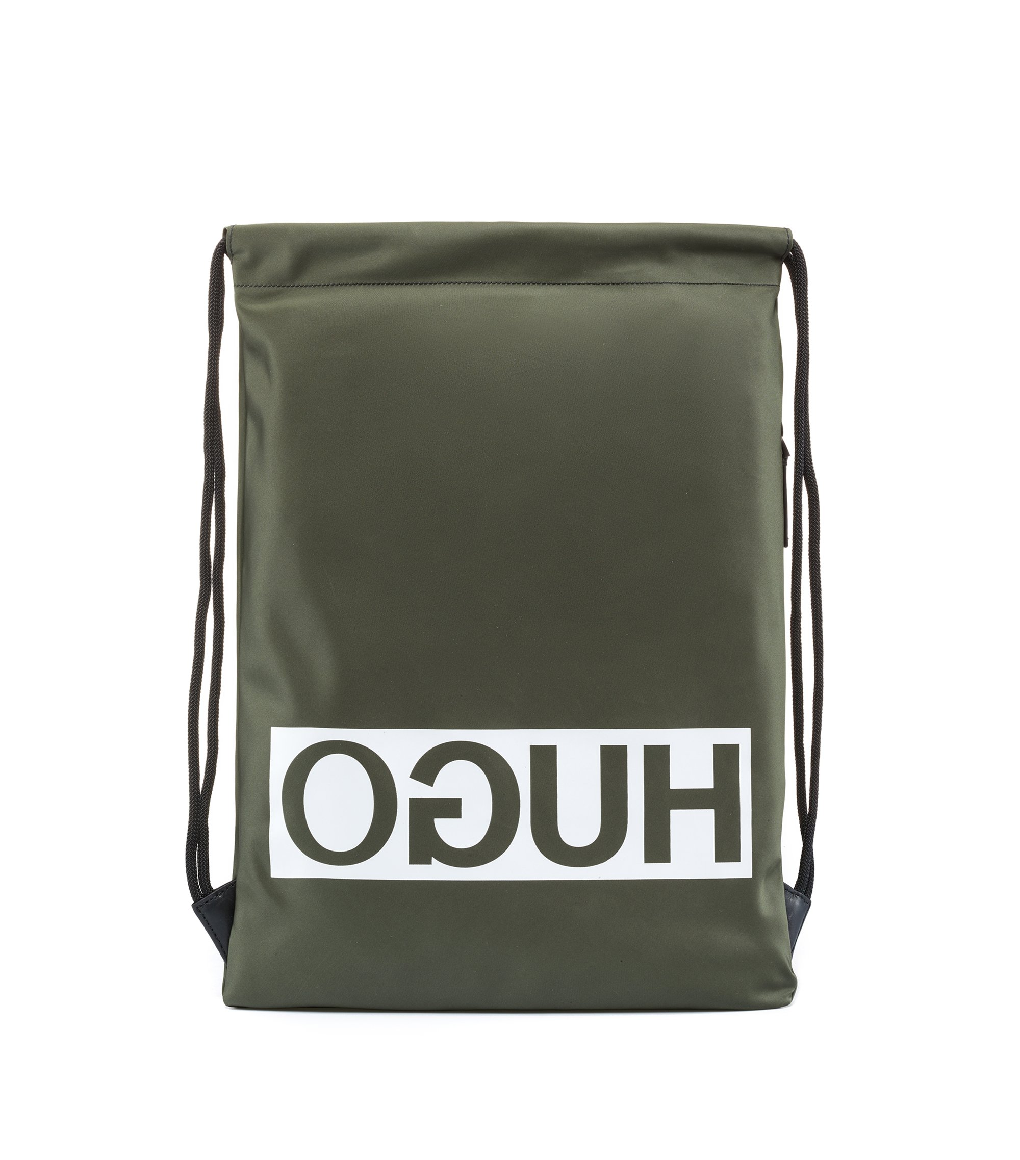 Reverse logo drawstring backpack in nylon gabardine, Dark Green