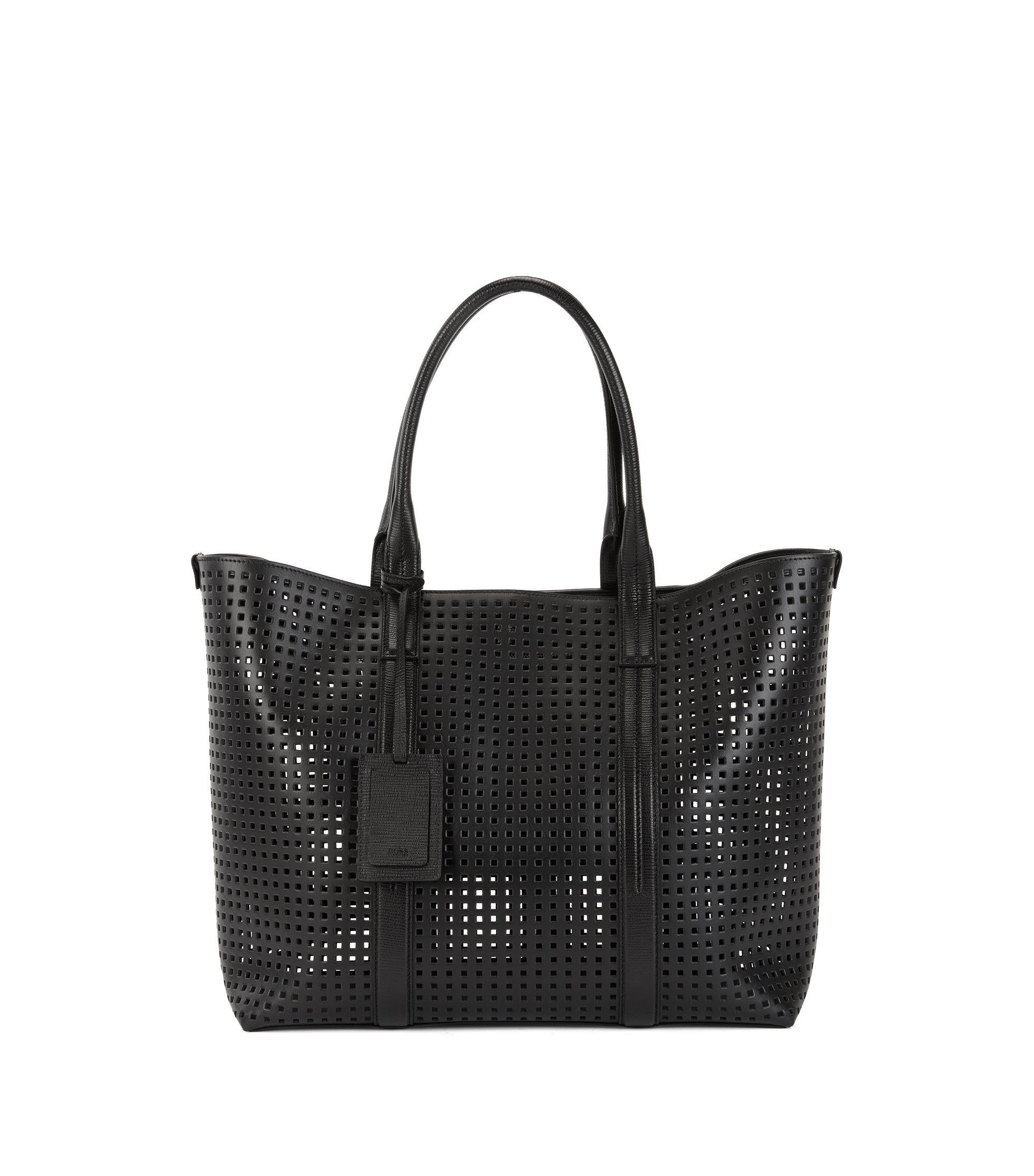 Perforated Italian leather tote bag, Black