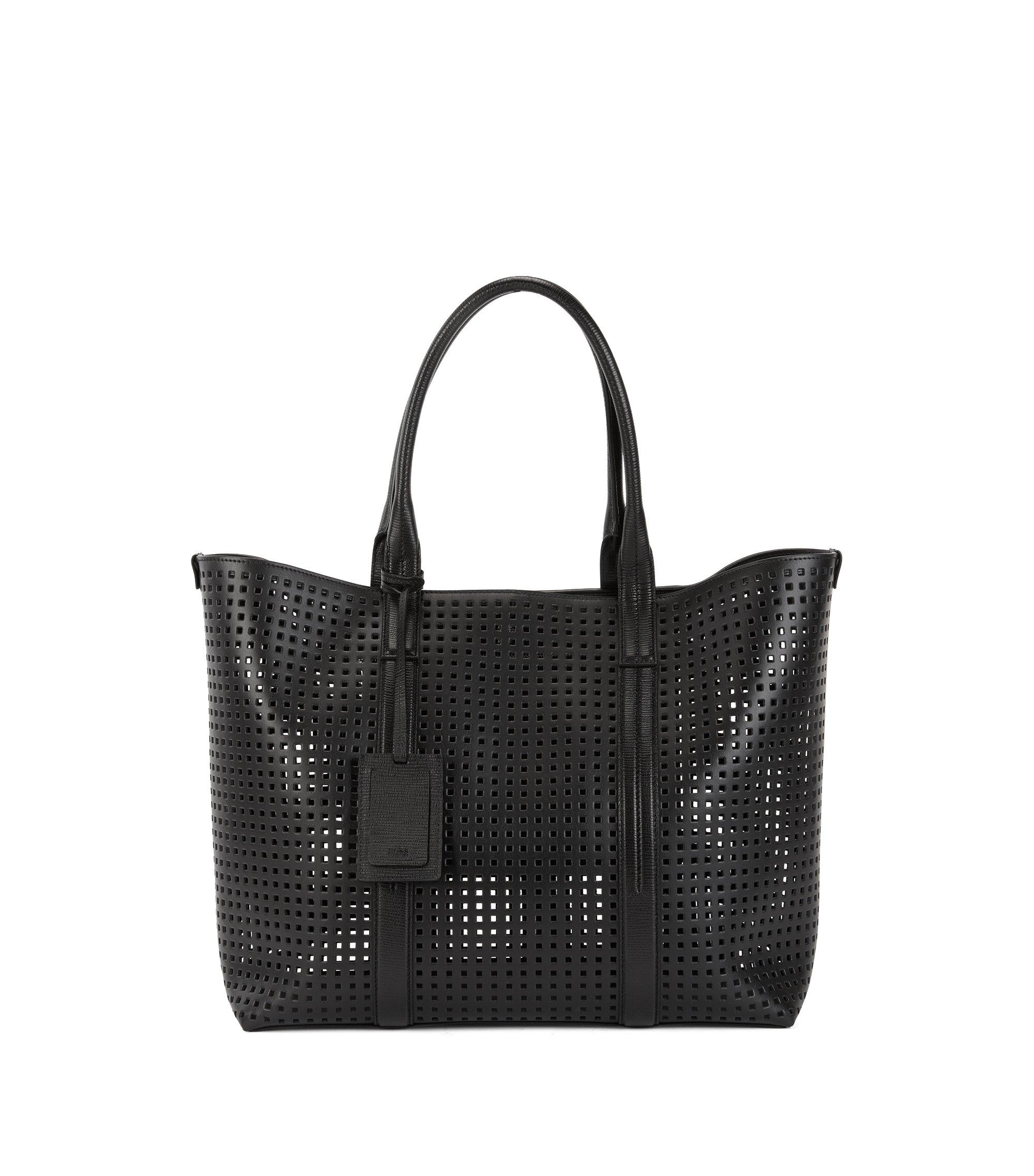 Tote Bag aus perforiertem italienischem Leder, Schwarz