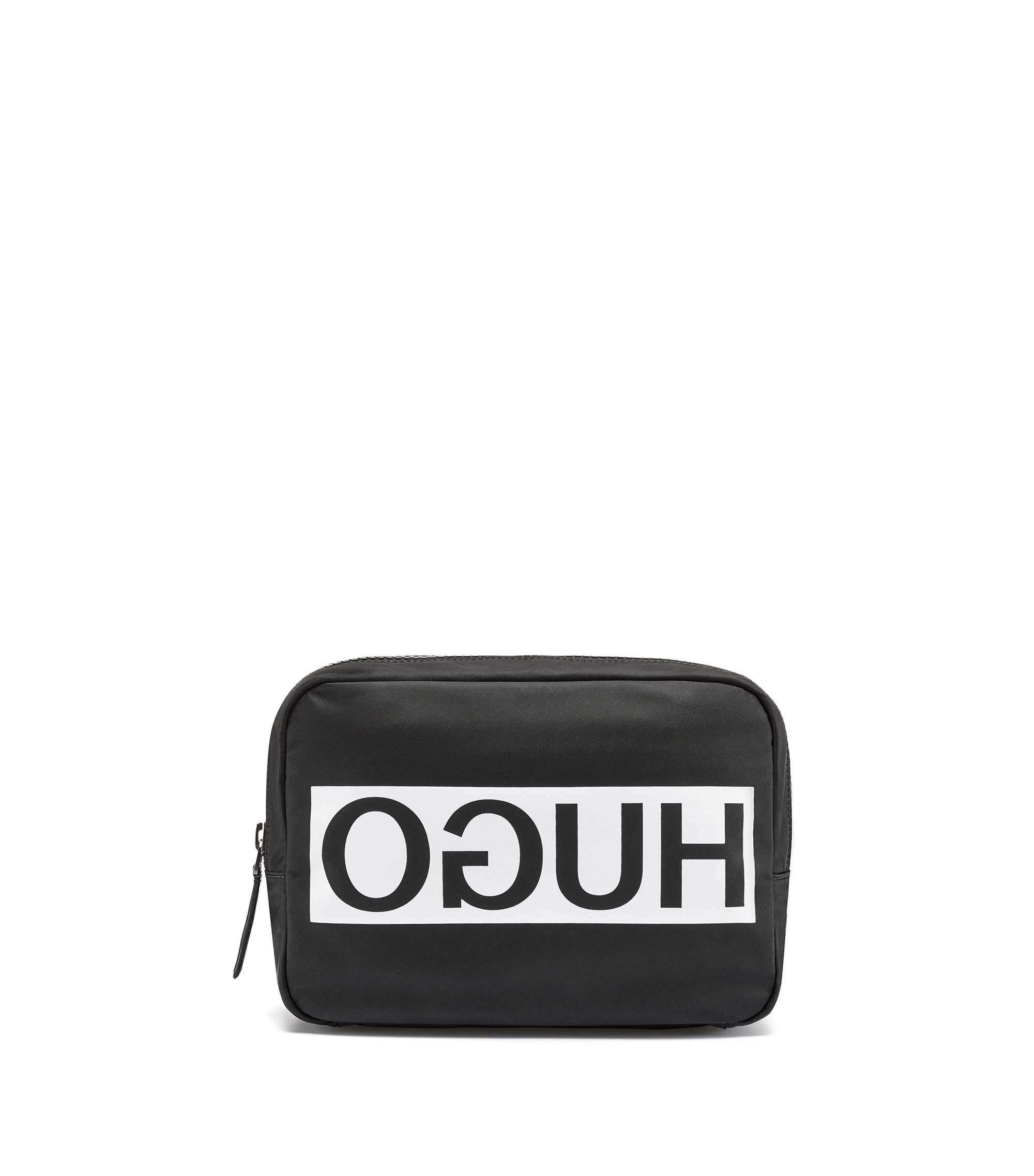 Nylon washbag with contrast reverse logo, Black