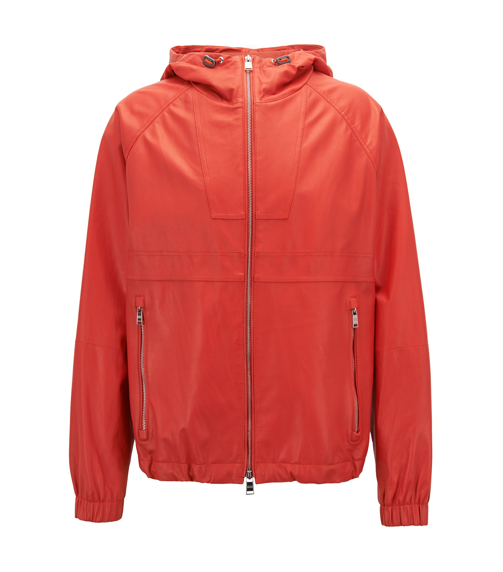 Lightweight nappa leather windbreaker jacket in a relaxed fit, Orange