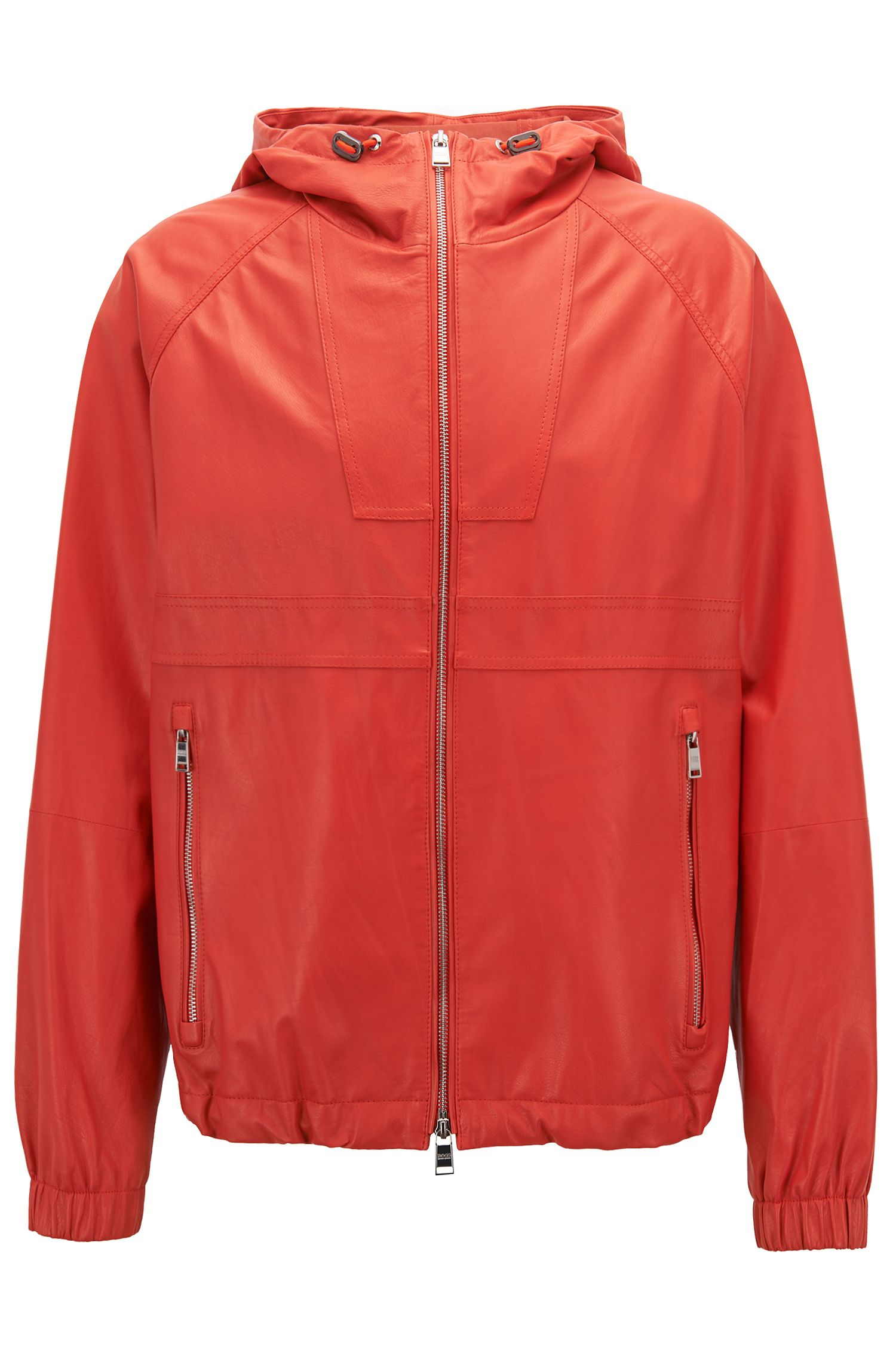 Lightweight nappa leather windbreaker jacket in a relaxed fit