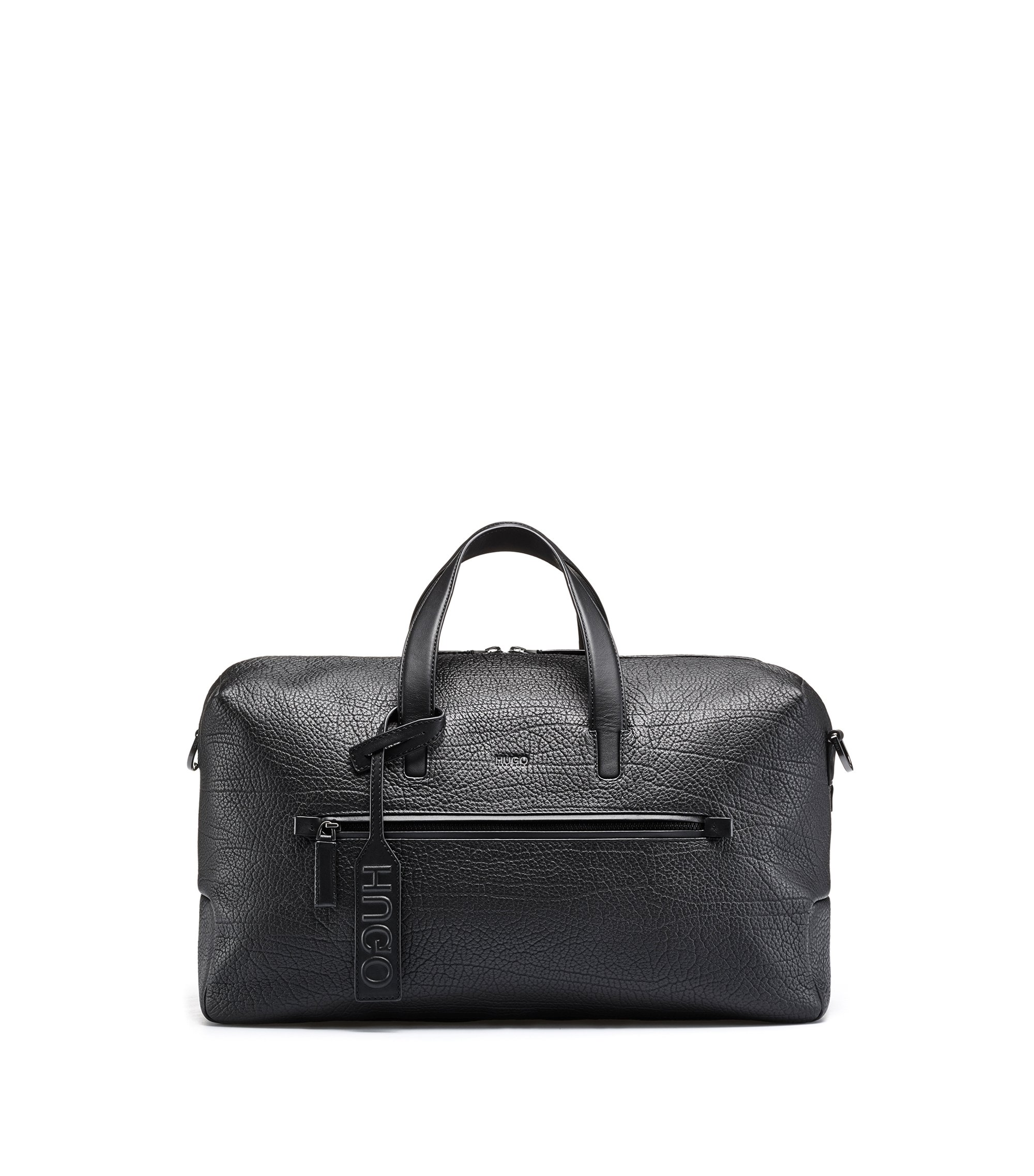 Holdall in buffalo-embossed leather with zipped pocket, Black