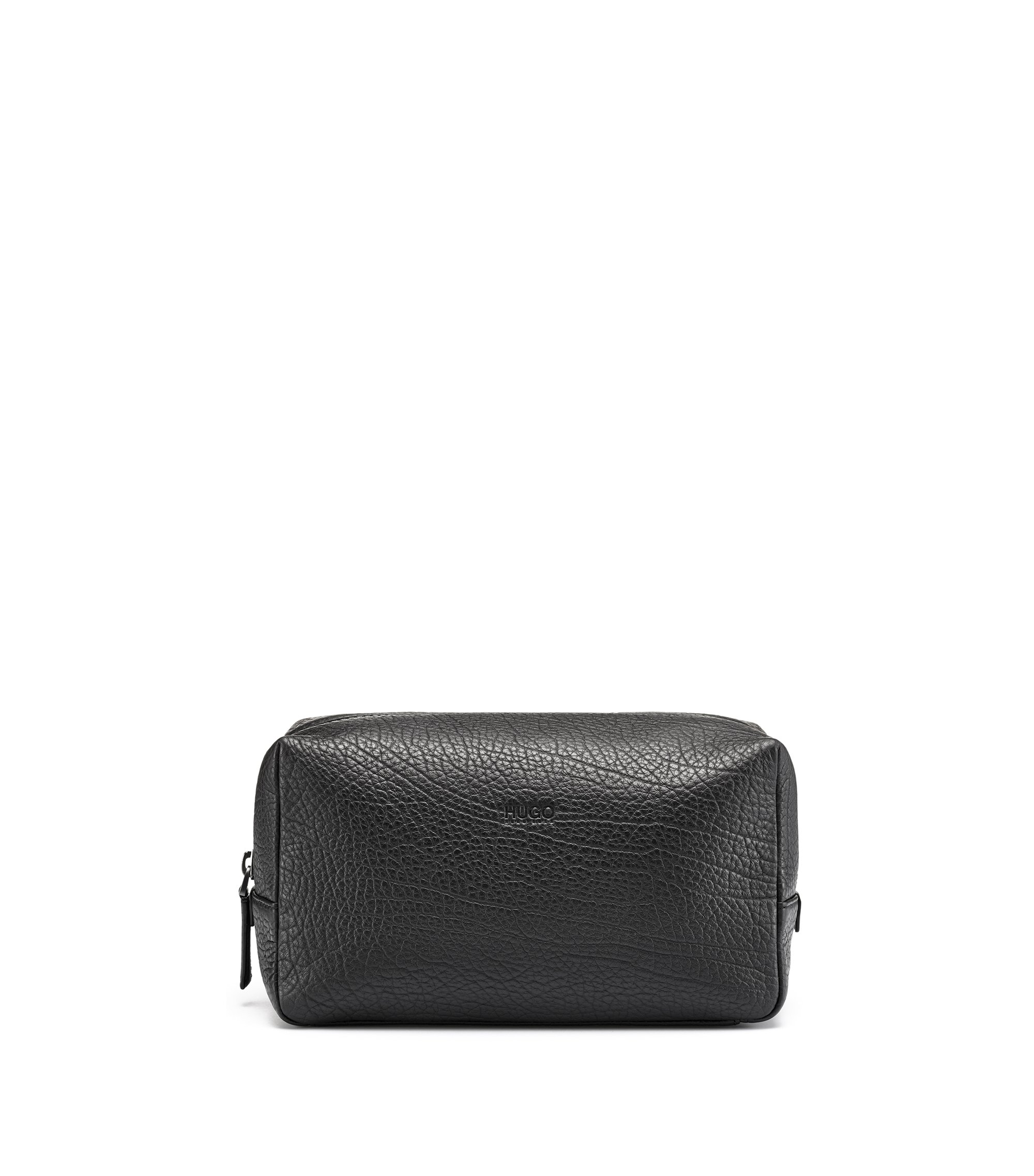 Washbag in grained Italian leather, Black