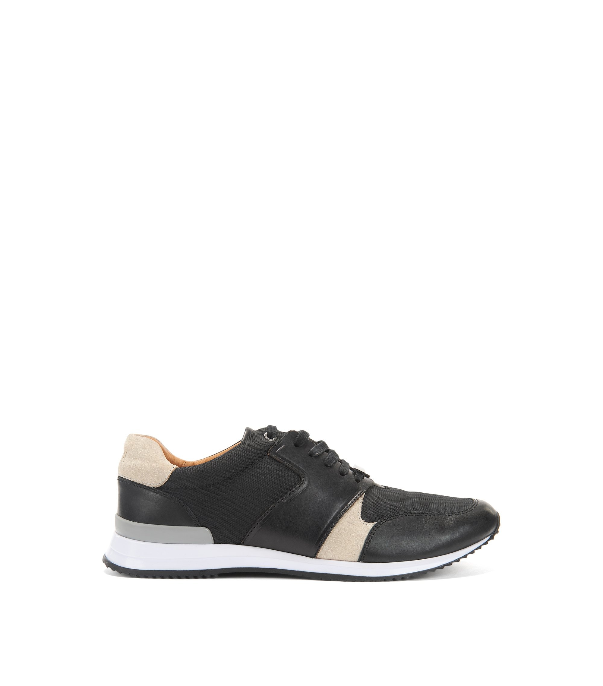 Sneakers stile runner con tomaia ibrida, Nero