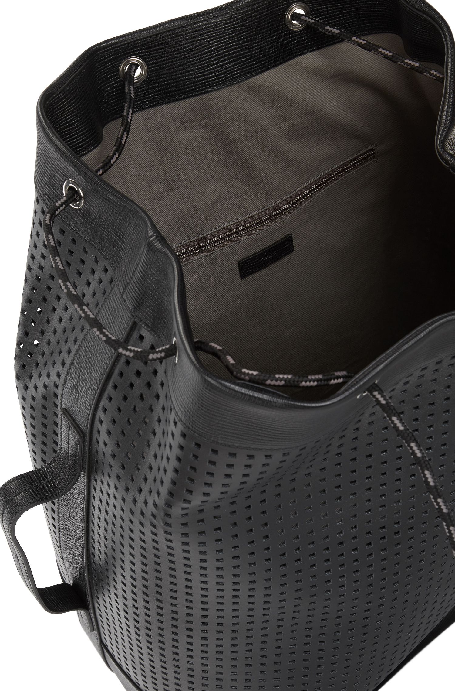 Italian-made backpack in perforated leather, Black