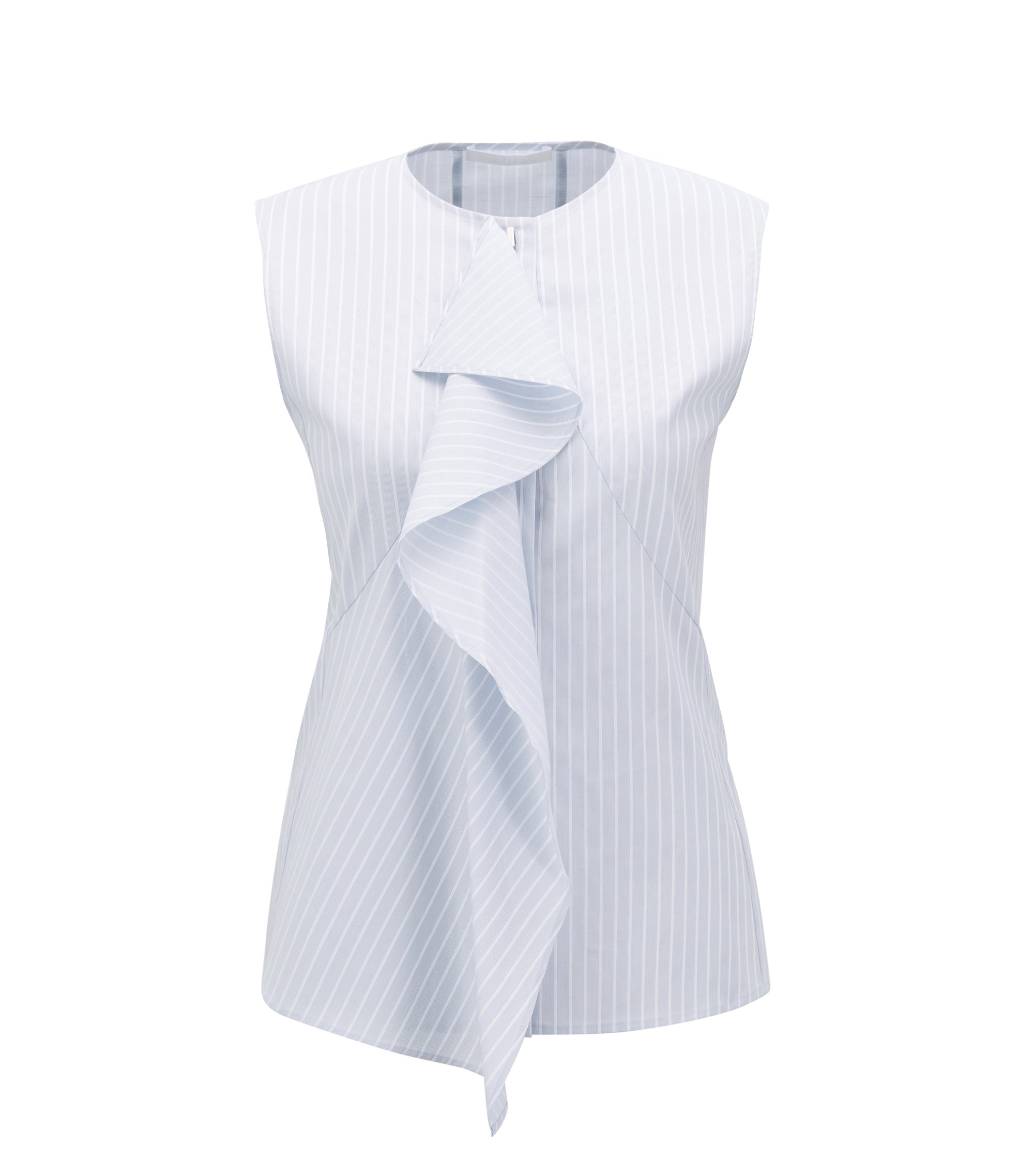 Slim-fit sleeveless blouse in stretch cotton, Patterned