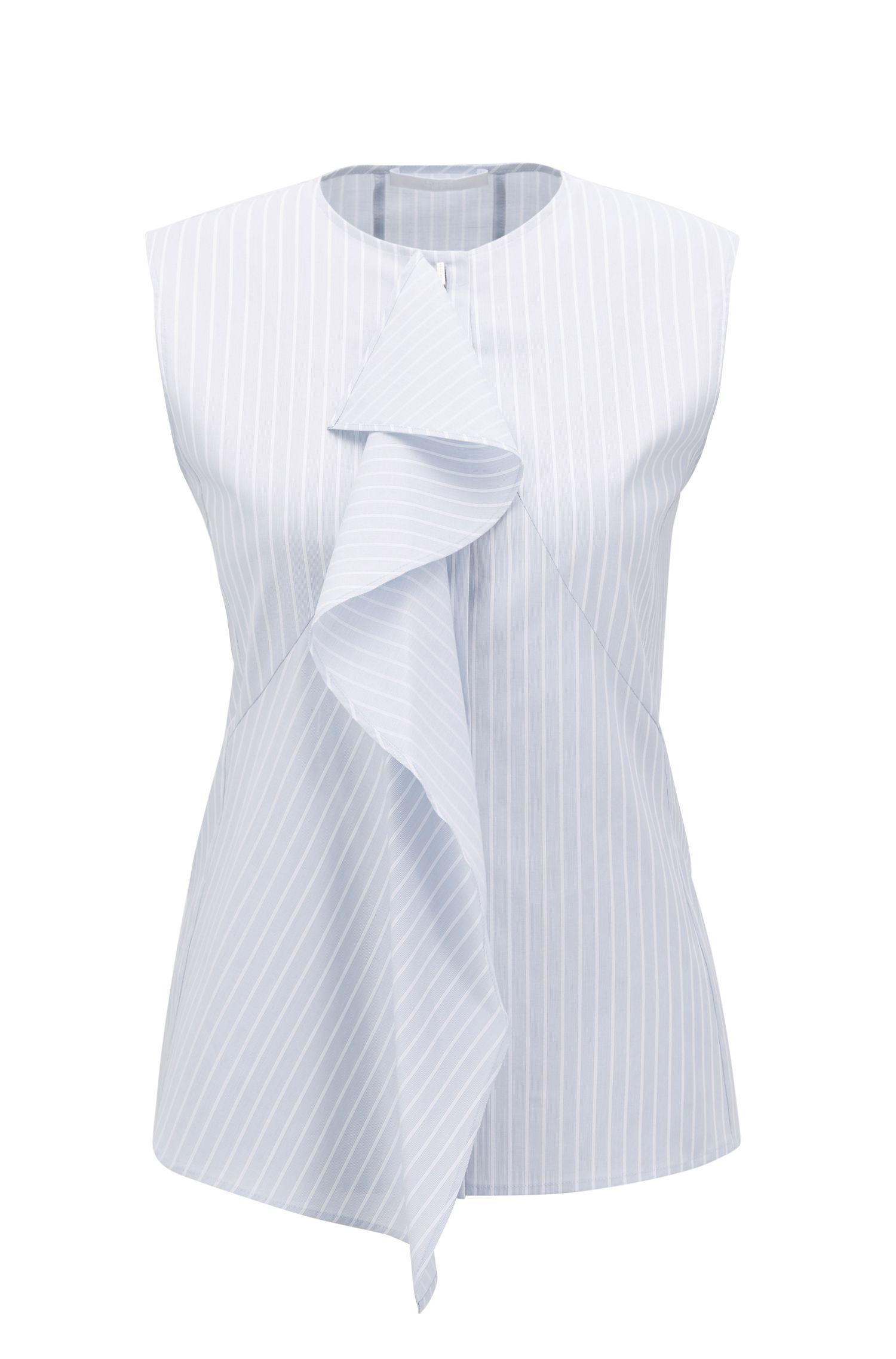 Slim-fit sleeveless blouse in stretch cotton