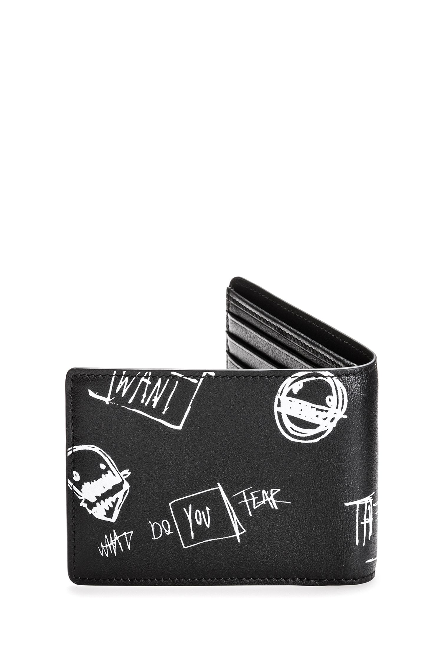 Bifold leather wallet with graffiti artwork