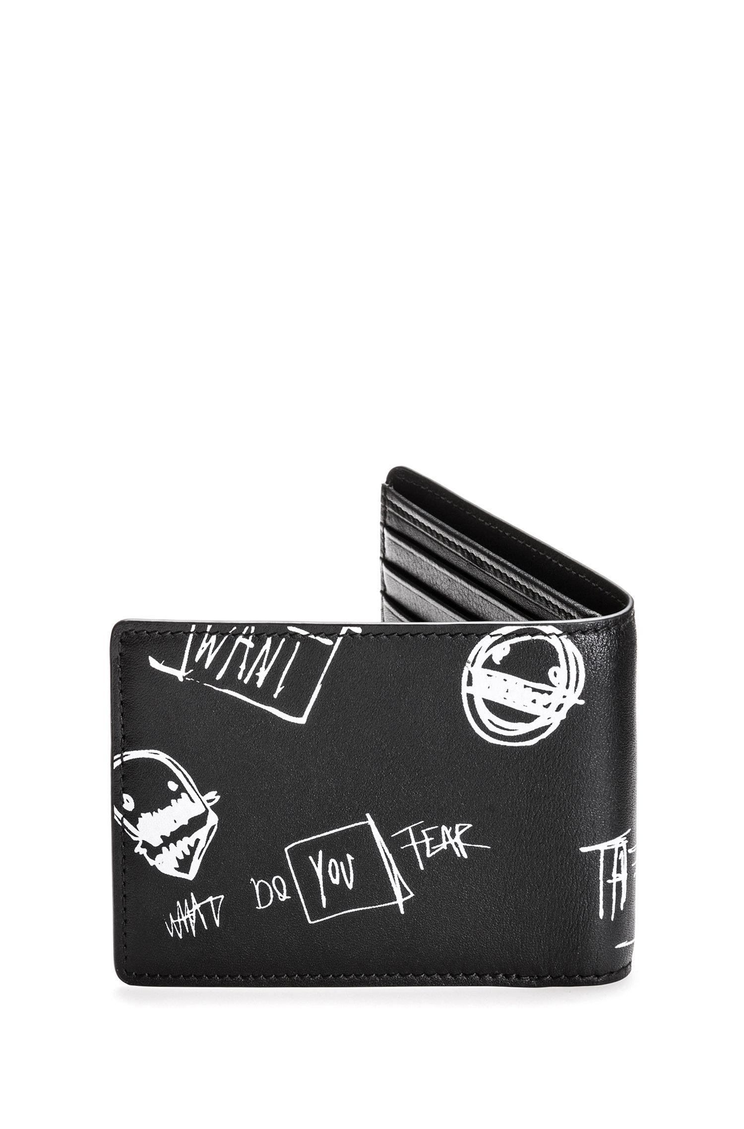 Portafoglio bi-fold in pelle con motivo grafico stile graffiti