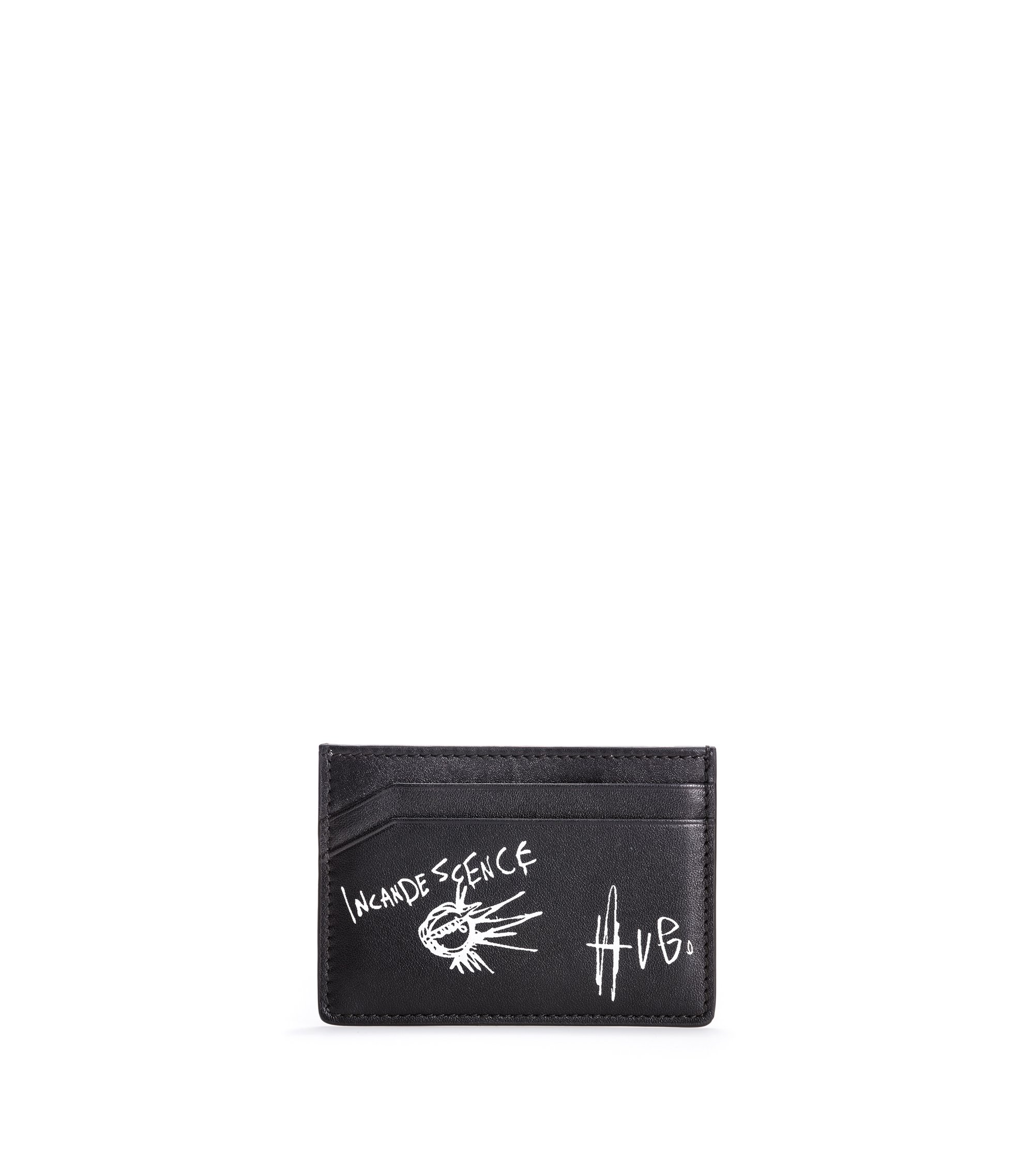 Leather card case with graffiti artwork, Black