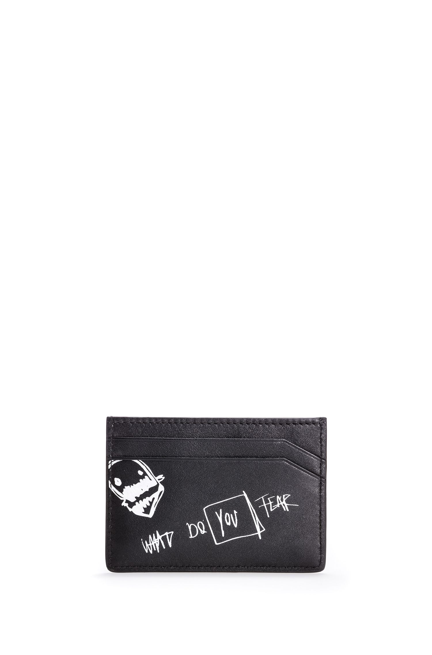 Leather card case with graffiti artwork